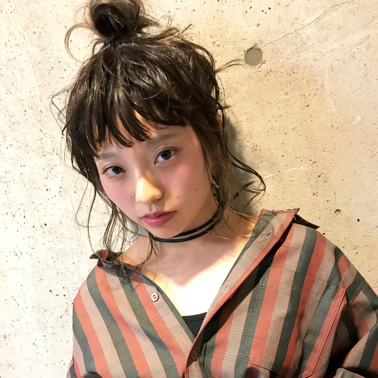 ストリート 簡単ヘアアレンジ ヘアアレンジ ミディアム ヘアスタイルや髪型の写真・画像 | 甲斐 大介 / 間借り美容師。boGa(ボガ)