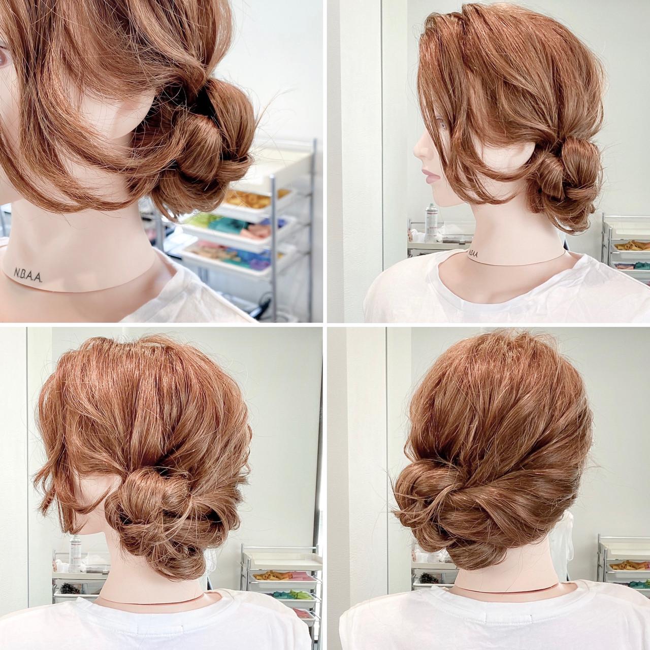 ヘアセット アップスタイル 簡単ヘアアレンジ フェミニン ヘアスタイルや髪型の写真・画像