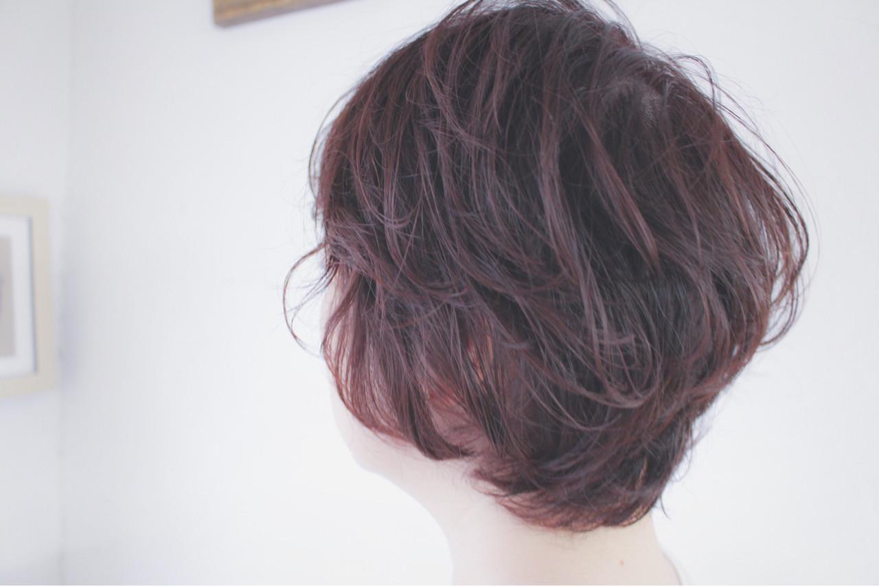 ショート ピンクアッシュ ナチュラル ショートボブ ヘアスタイルや髪型の写真・画像