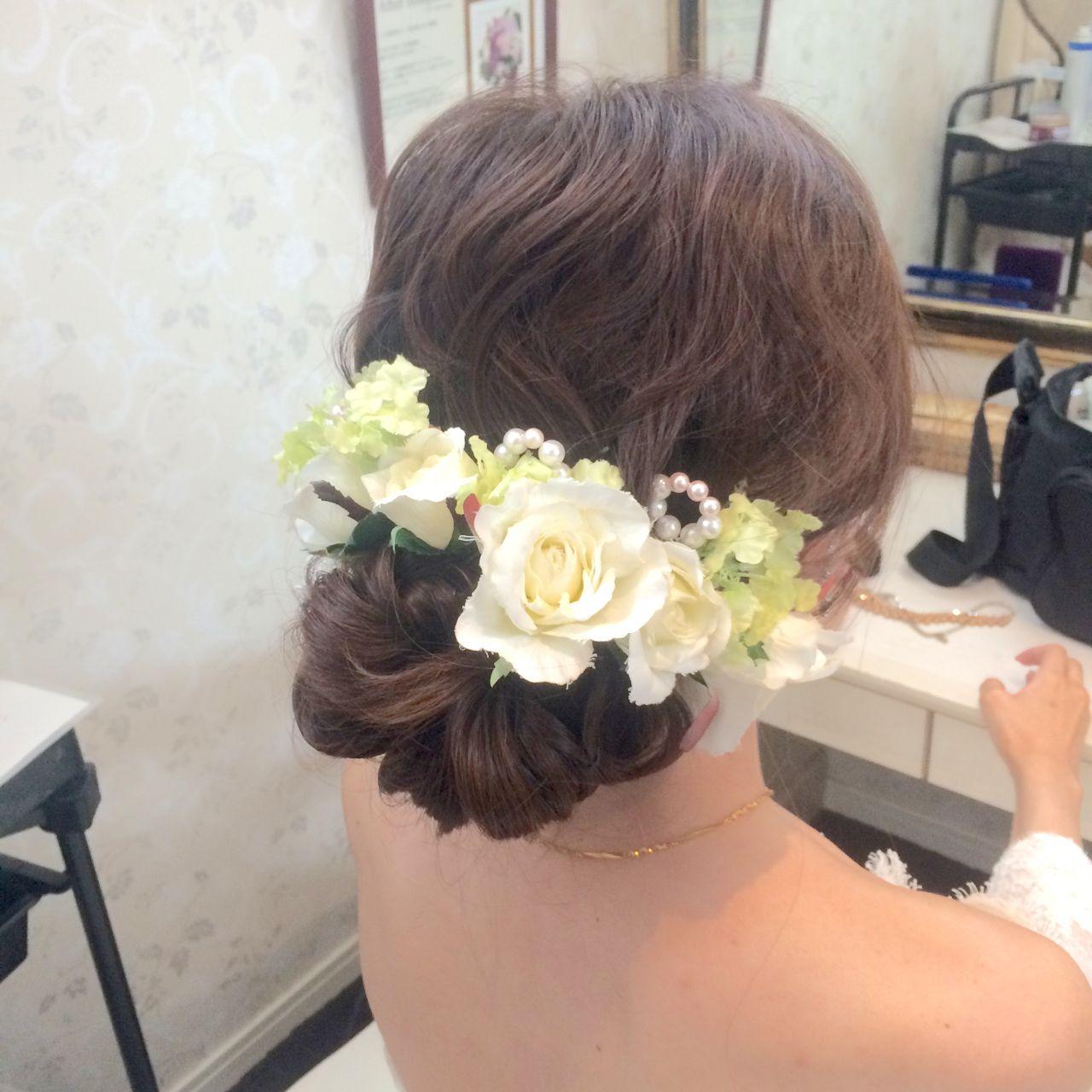 ブライダル ヘアアレンジ ロング アップスタイル ヘアスタイルや髪型の写真・画像