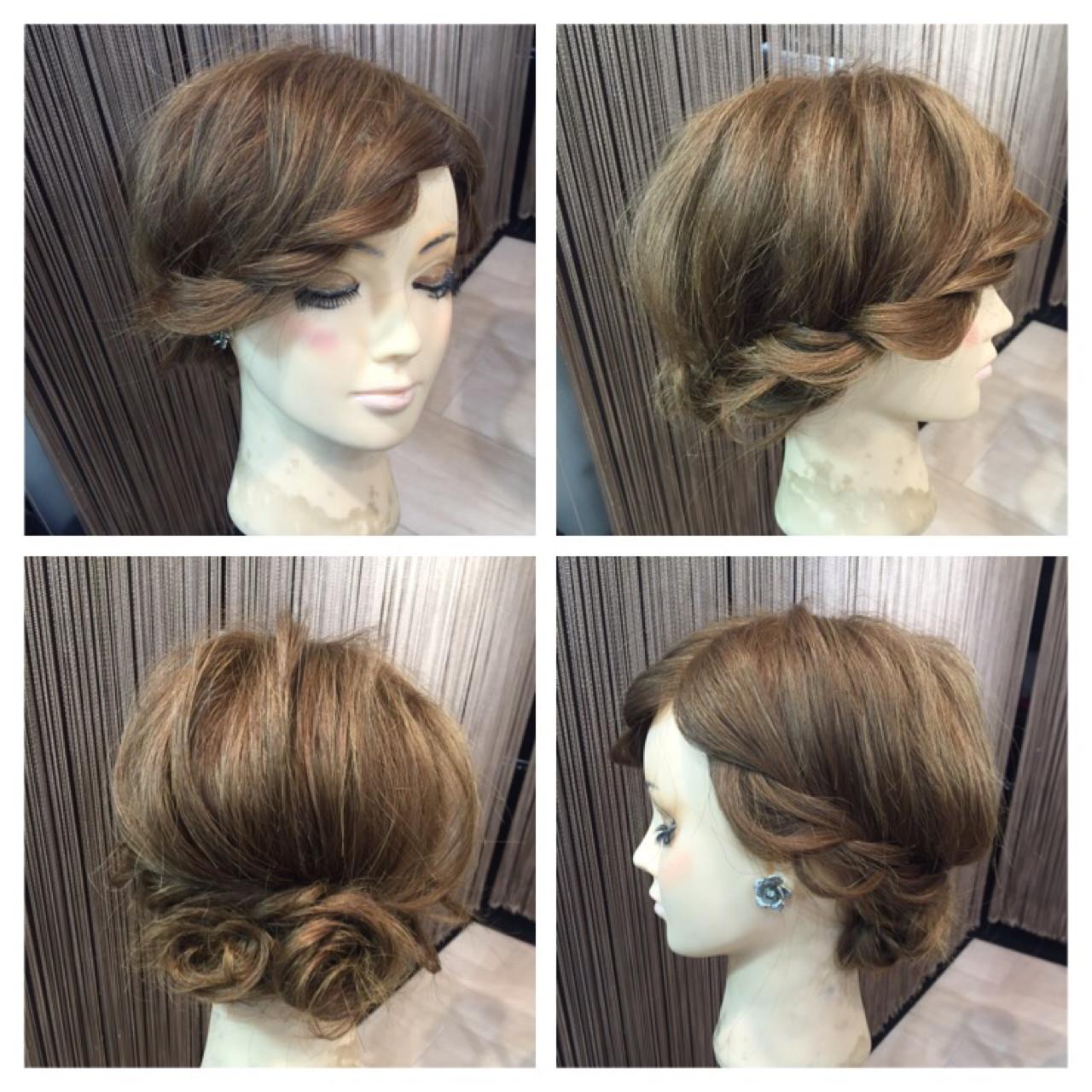 セミロング ロープ編み ヘアアレンジ 簡単ヘアアレンジ ヘアスタイルや髪型の写真・画像