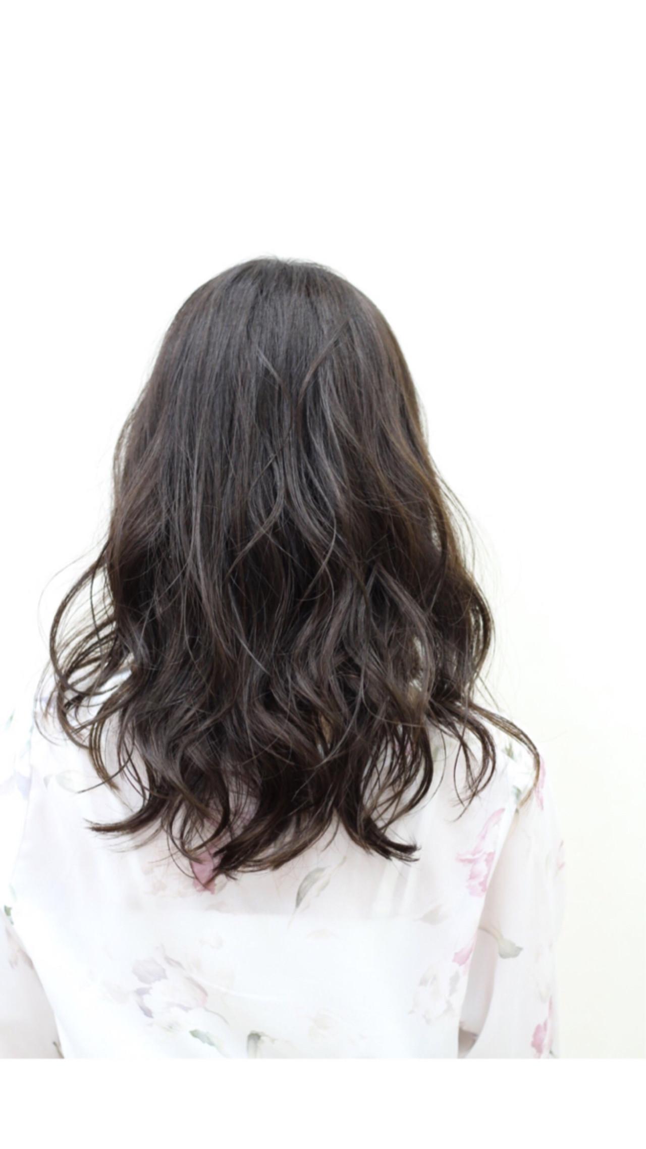 暗髪 セミロング 大人かわいい アッシュ ヘアスタイルや髪型の写真・画像 | 後藤菜々 / 電髪倶楽部street