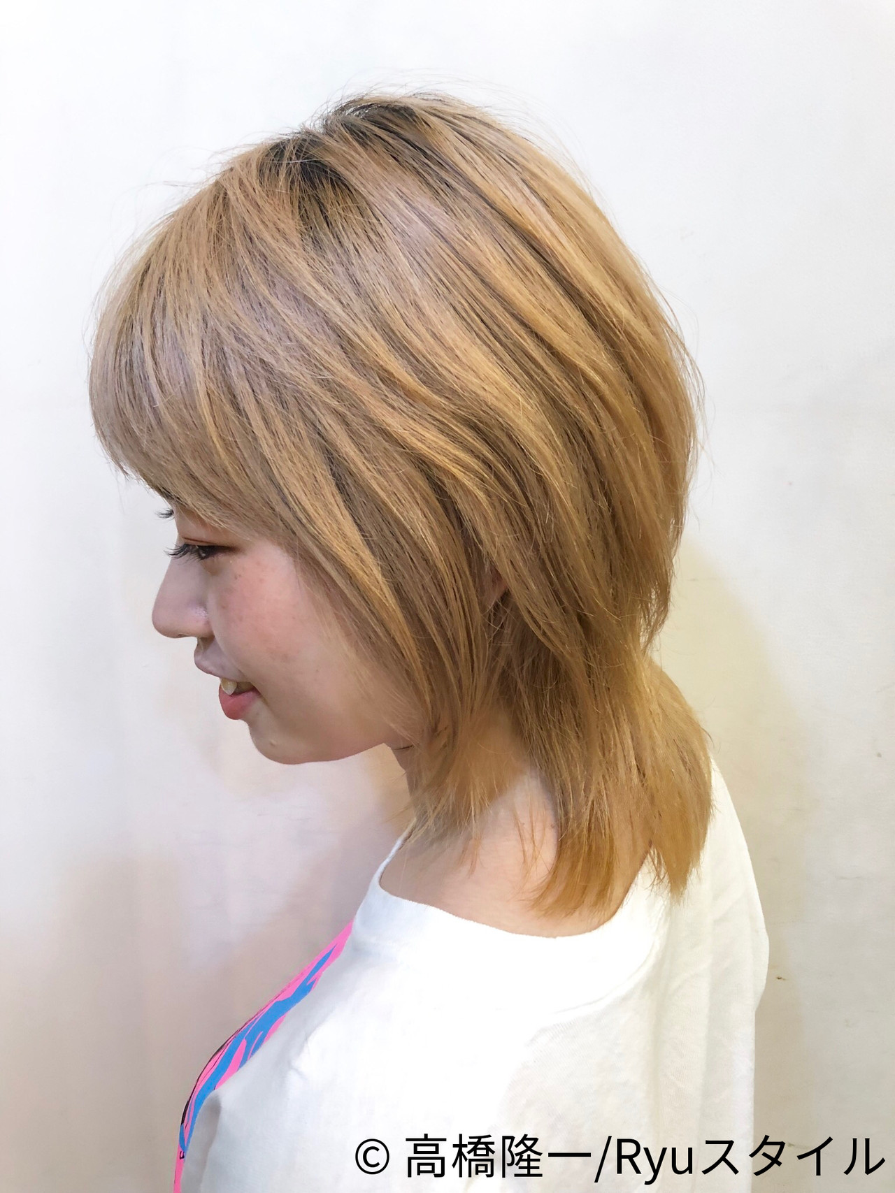 透明感カラー セミロング 外国人風 イルミナカラー ヘアスタイルや髪型の写真・画像