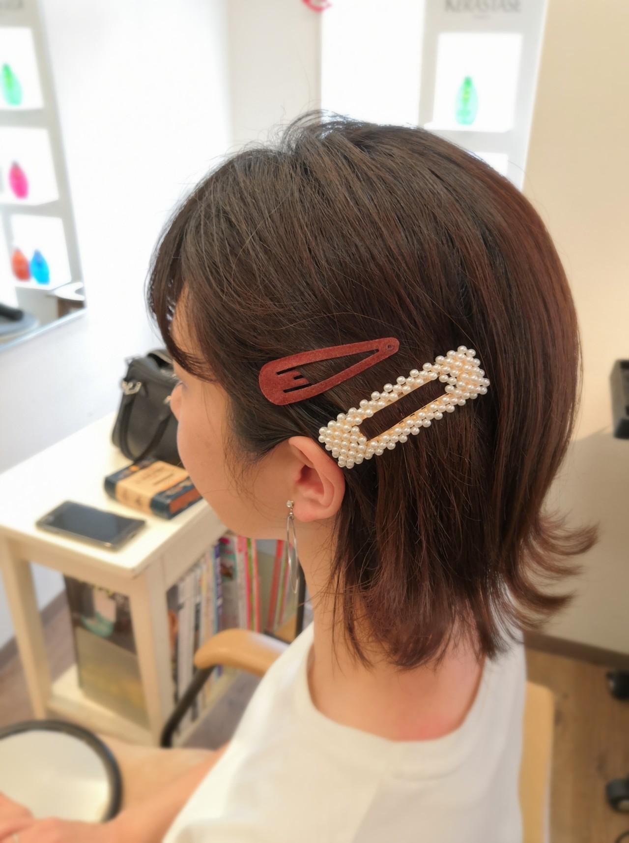 ボブ フェミニン バレッタ デート ヘアスタイルや髪型の写真・画像 | ふくずみかよ / THETA of hair