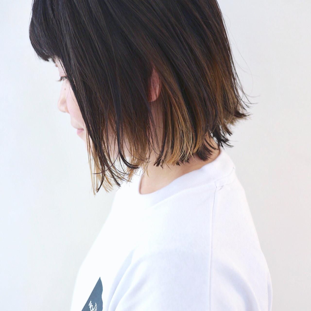 グレージュ 外ハネ インナーカラー グラデーションカラー ヘアスタイルや髪型の写真・画像 | 三好 佳奈美 / Baco.(バコ)
