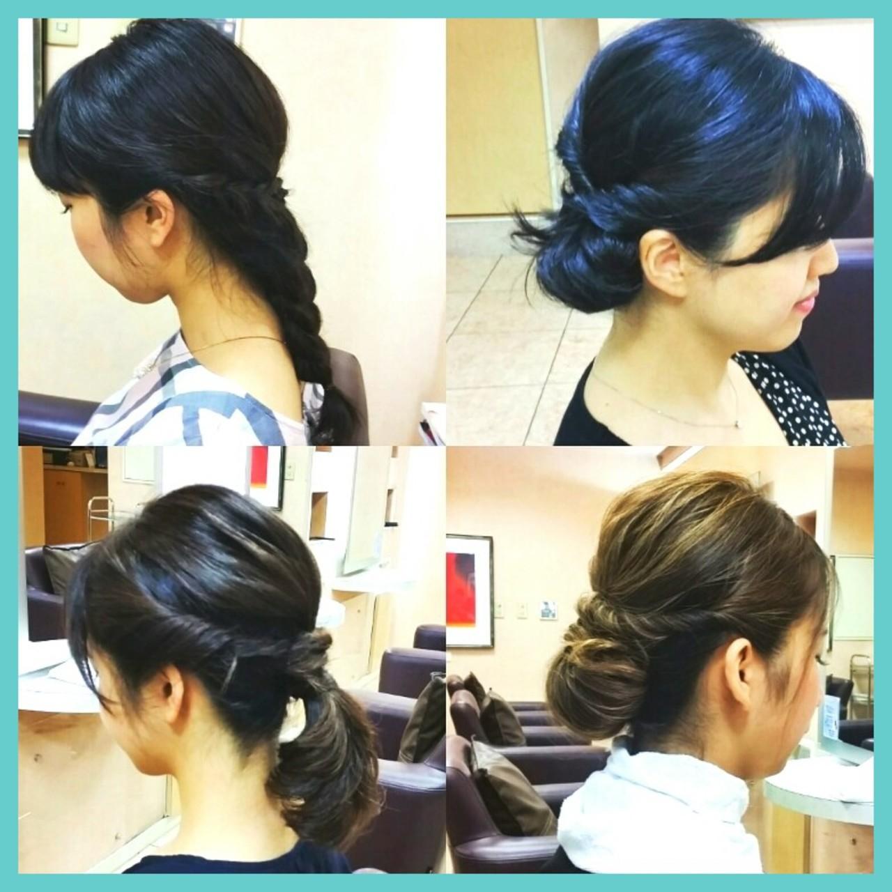 ミディアム ヘアアレンジ 簡単ヘアアレンジ 三つ編み ヘアスタイルや髪型の写真・画像