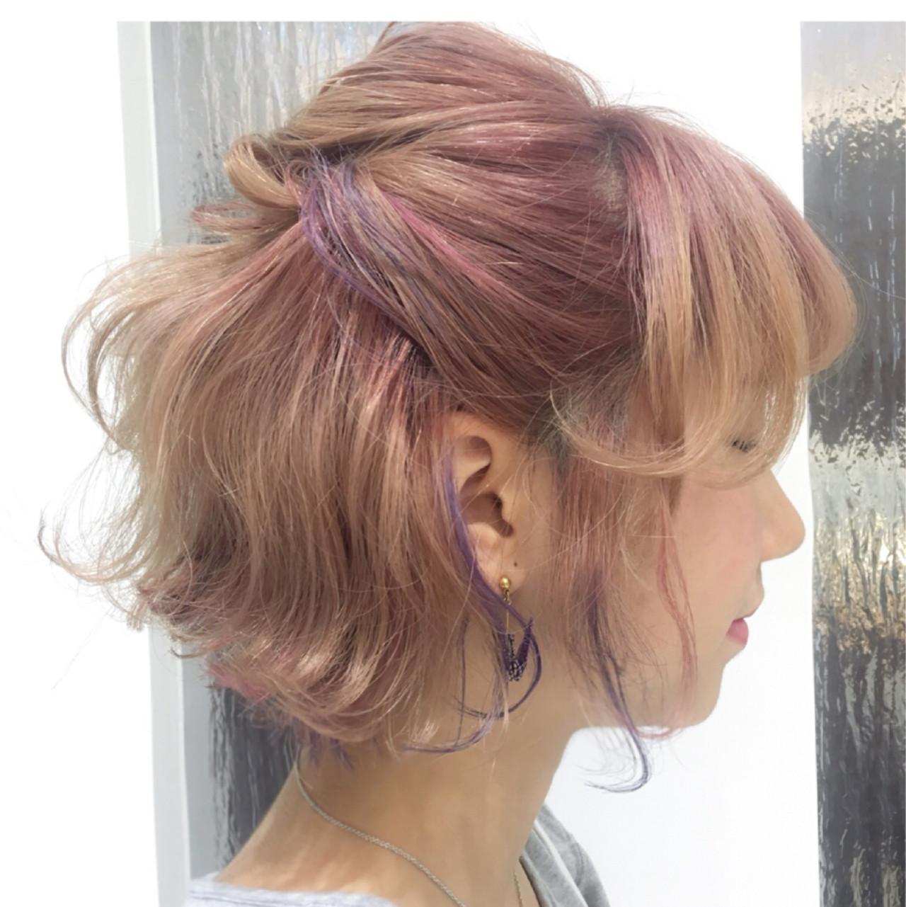 ストリート 簡単ヘアアレンジ インナーカラー 色気 ヘアスタイルや髪型の写真・画像 | 柳平 真由佳 / レブリィゼンコー多摩平の森店