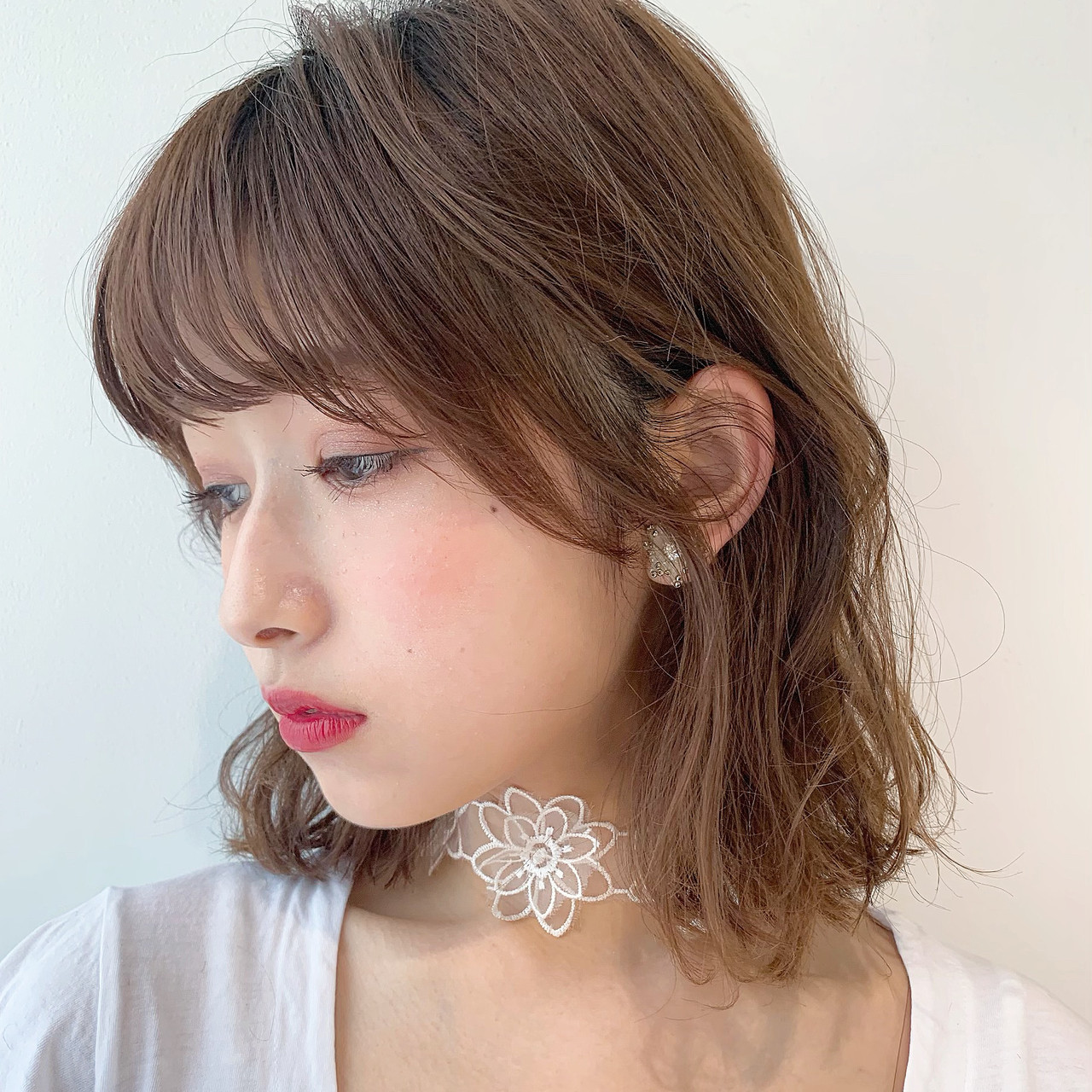 アンニュイほつれヘア ガーリー ロブ 透明感カラー ヘアスタイルや髪型の写真・画像