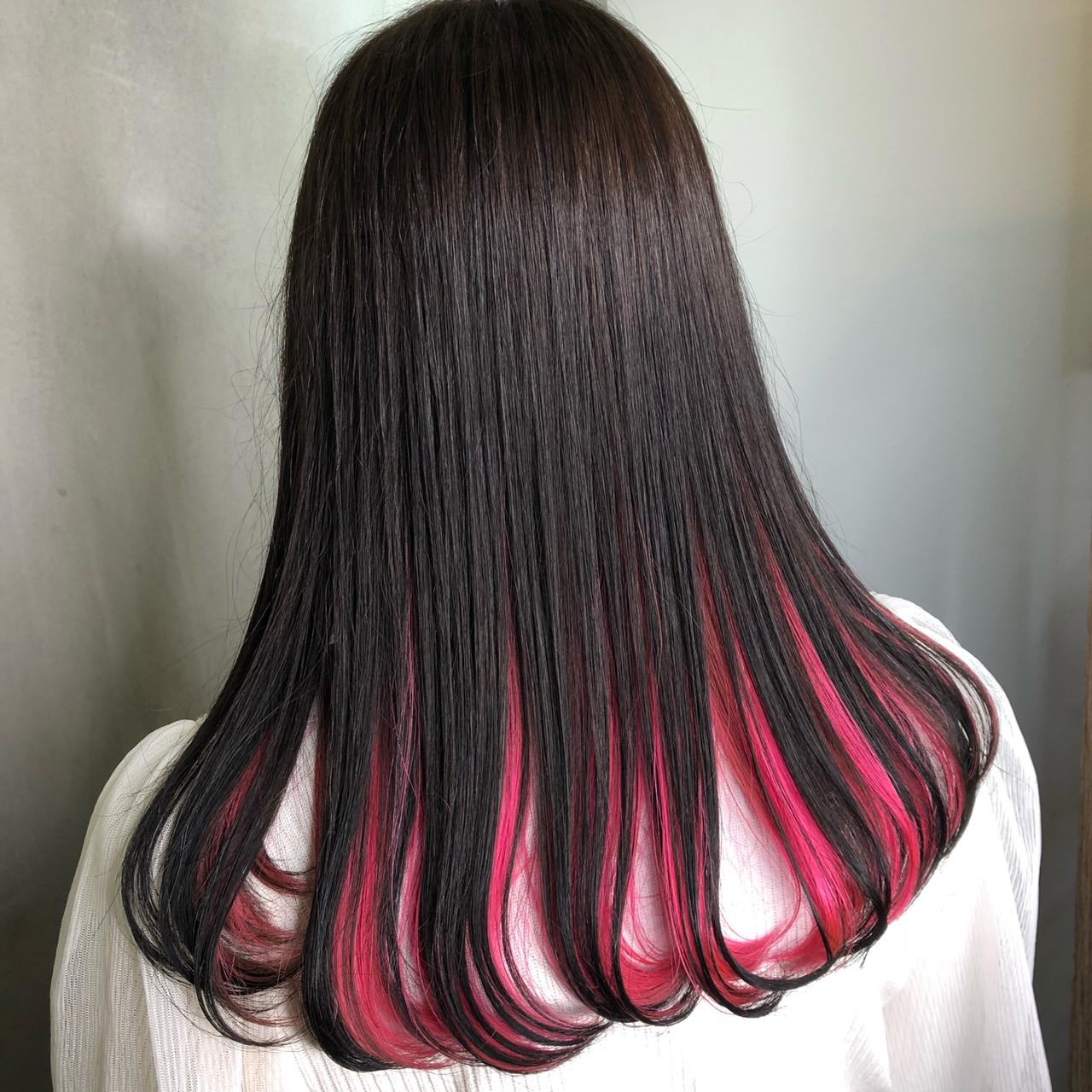 ベリーピンク 黒髪 インナーカラー ピンク ヘアスタイルや髪型の写真・画像 | 筒井 隆由 / Hair salon mode