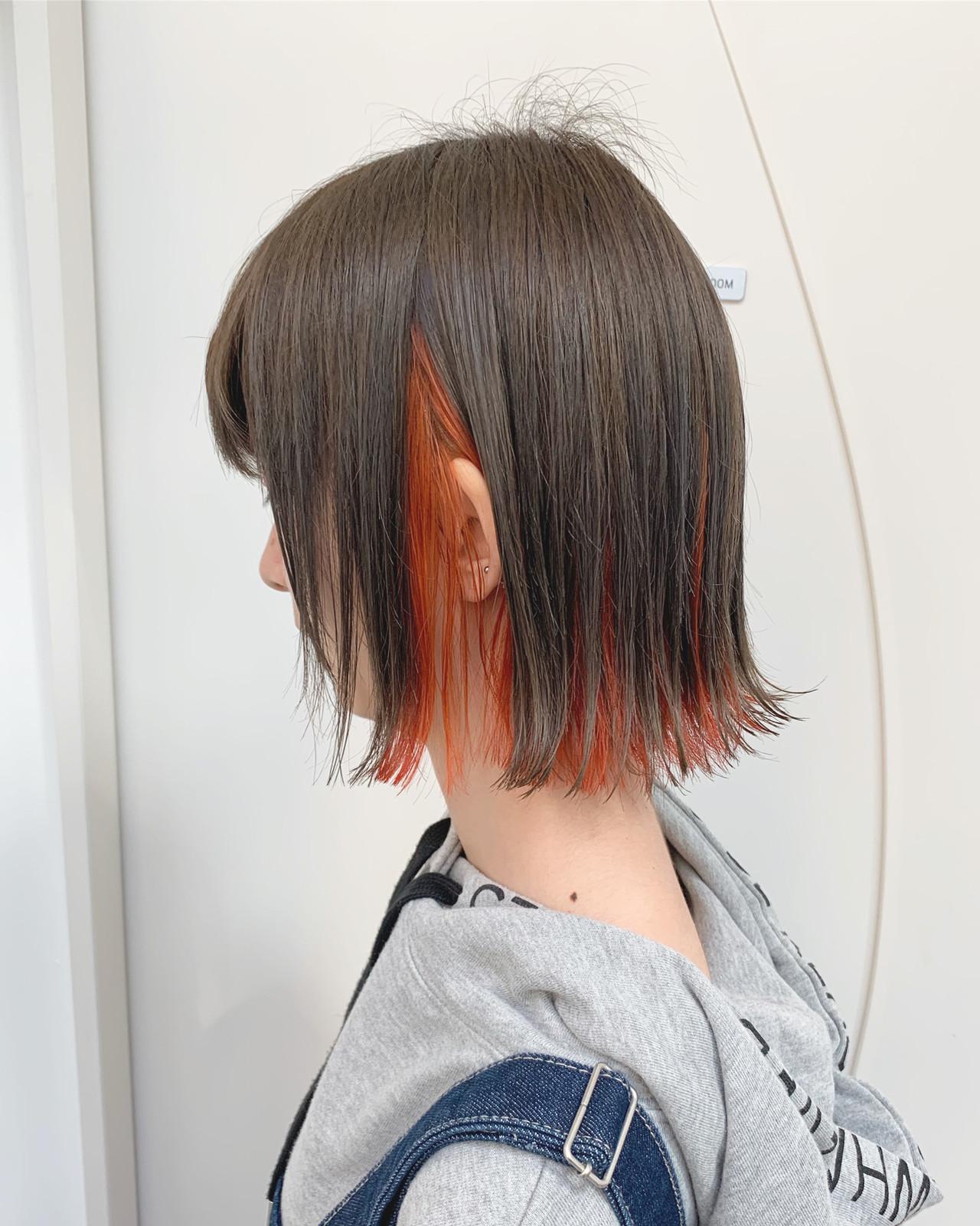 インナーカラー ショートボブ ストリート カラーバター ヘアスタイルや髪型の写真・画像