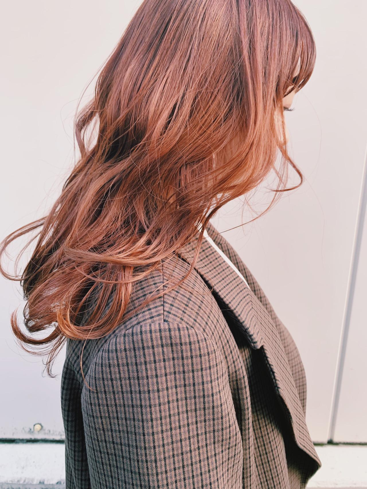 韓国ヘア インナーカラー ナチュラル オレンジベージュ ヘアスタイルや髪型の写真・画像