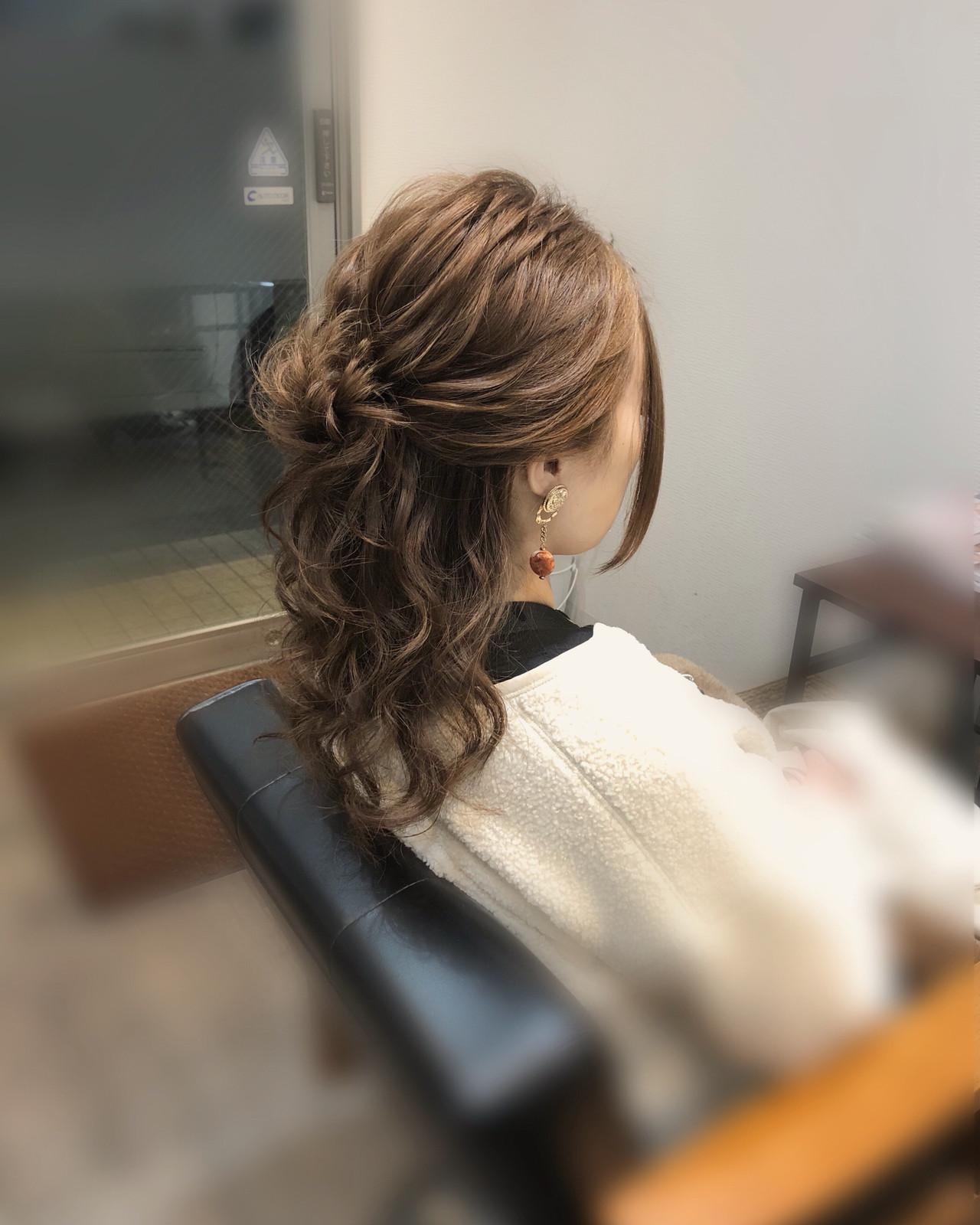 ヘアセット 結婚式 ヘアアレンジ セミロング ヘアスタイルや髪型の写真・画像