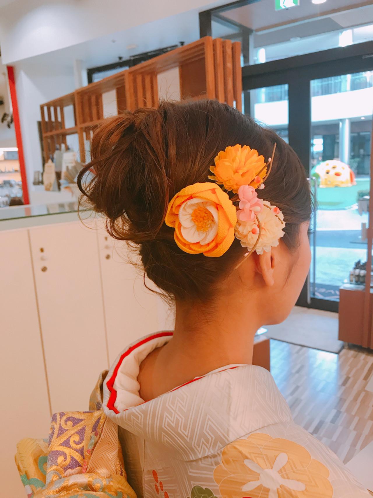 成人式 ヘアアレンジ ミディアム 和装 ヘアスタイルや髪型の写真・画像