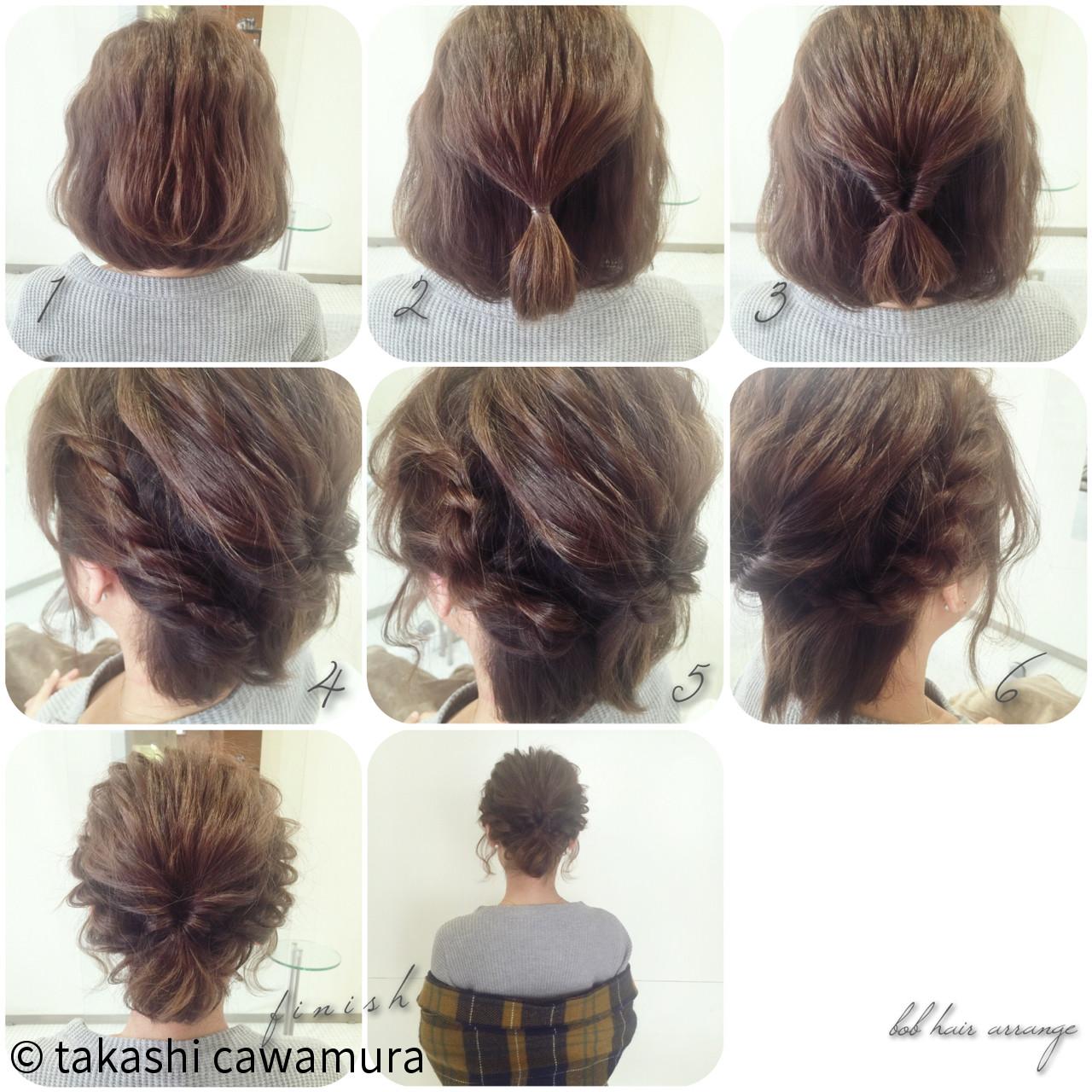 ツイスト 簡単ヘアアレンジ ボブ 大人かわいい ヘアスタイルや髪型の写真・画像 | takashi cawamura / HAIR & MAKE•UP TAXI