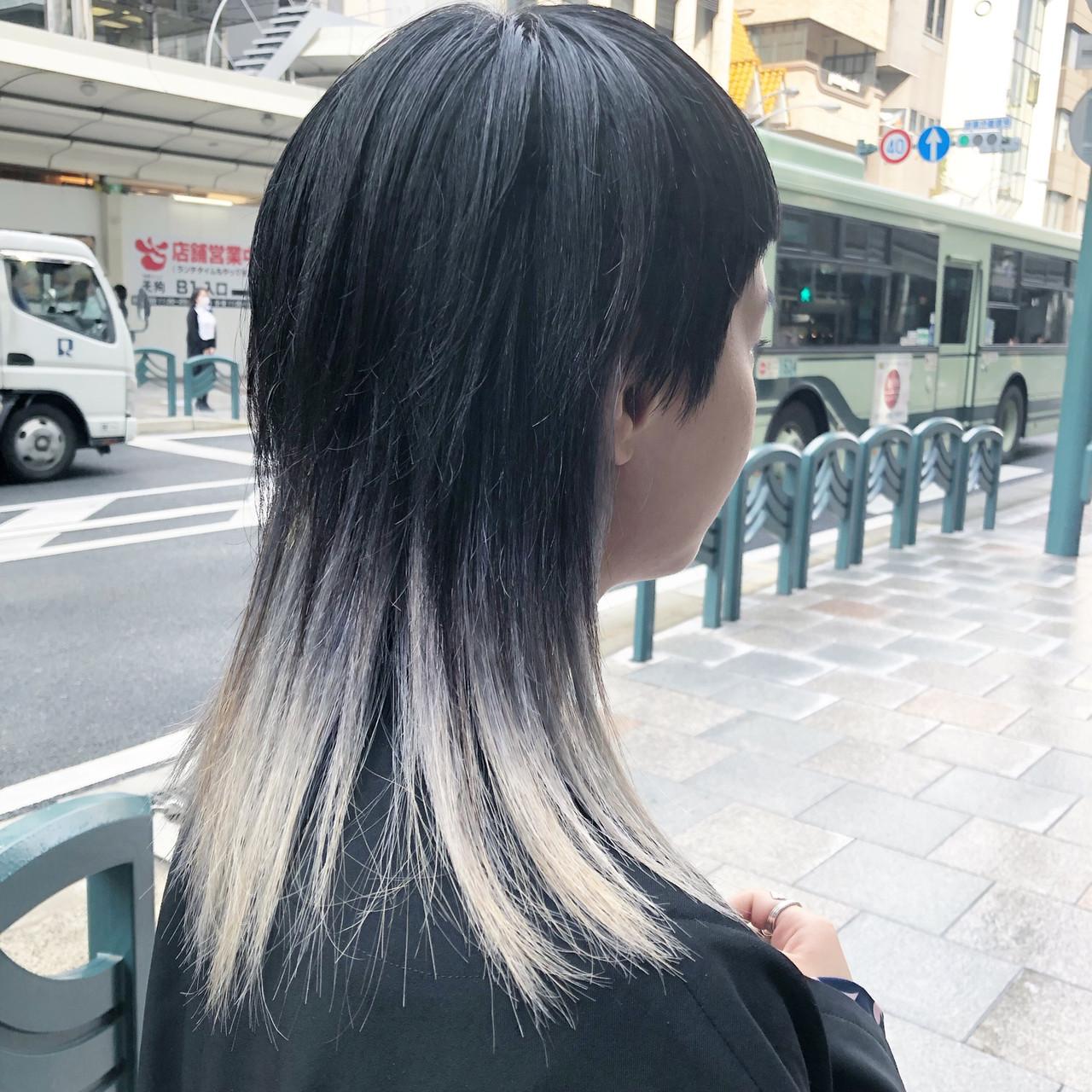 モード ロング グラデーションカラー ブリーチカラー ヘアスタイルや髪型の写真・画像