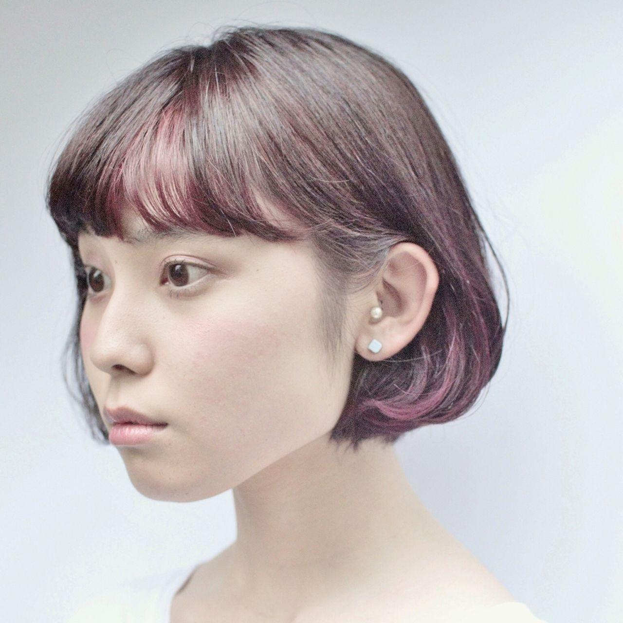 ベースをダークバイオレットに、ポイントでビビットなバイオレットを!オリジナリティーの高いショートボブ。マンネリしがちなら思い切ったチェンジしてみませんか? #tannenworks  #takuyakitamura  #hairstudiomenos #hair #fashion #color #ウィービング #cut #高円寺 #newcolor