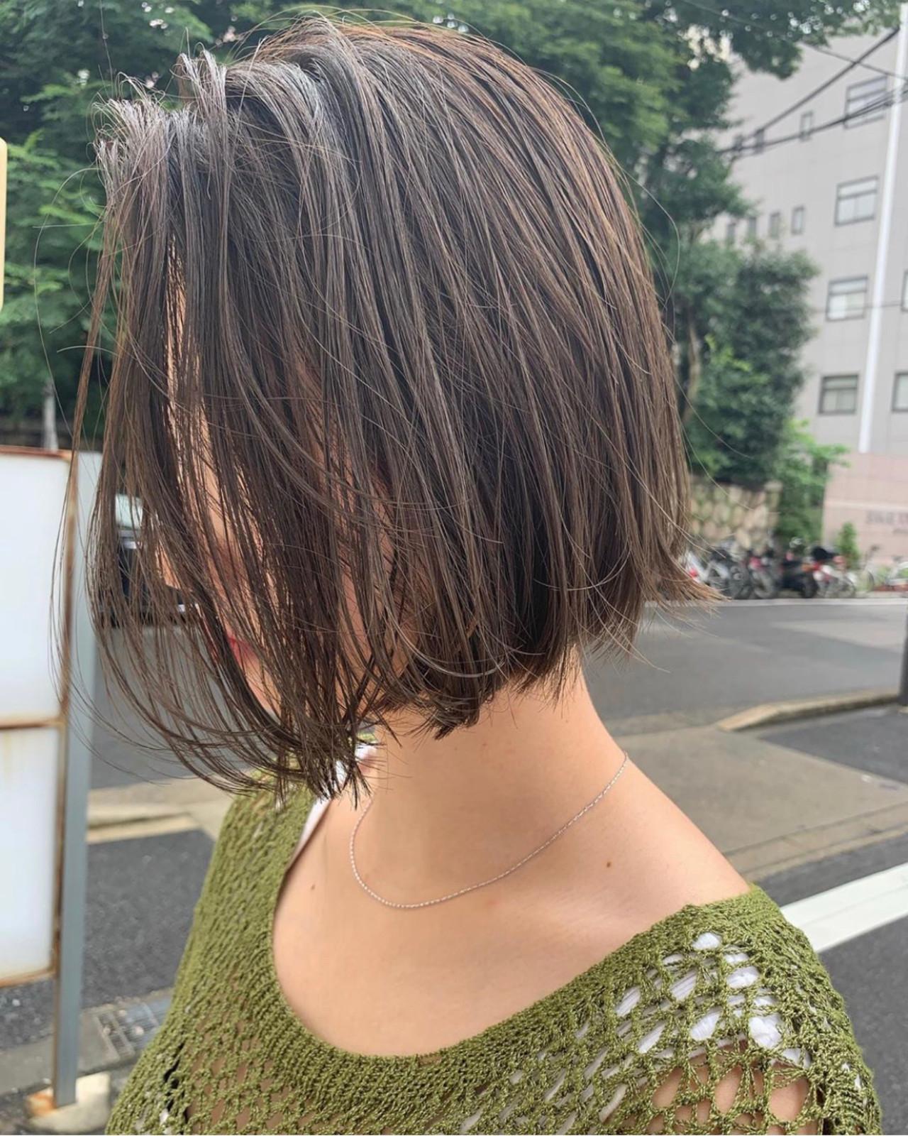 ナチュラル ボブ 切りっぱなしボブ ショートヘア ヘアスタイルや髪型の写真・画像 | KENTO.NOESALON / NOE SALON