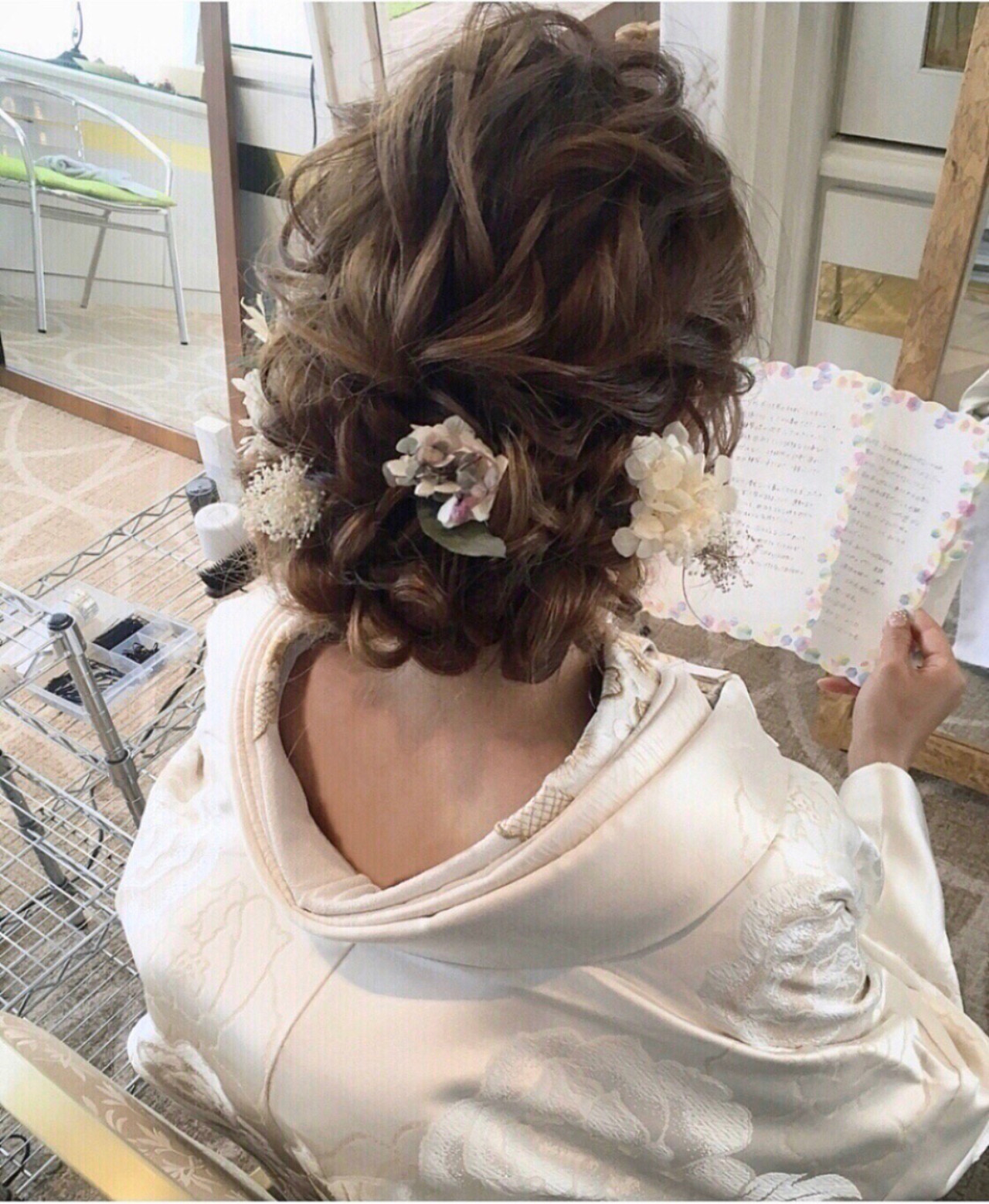 結婚式髪型 ヘアアレンジ ガーリー セミロング ヘアスタイルや髪型の写真・画像