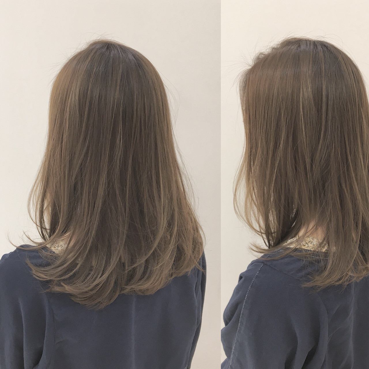 ベージュ 透明感 セミロング 大人かわいい ヘアスタイルや髪型の写真・画像