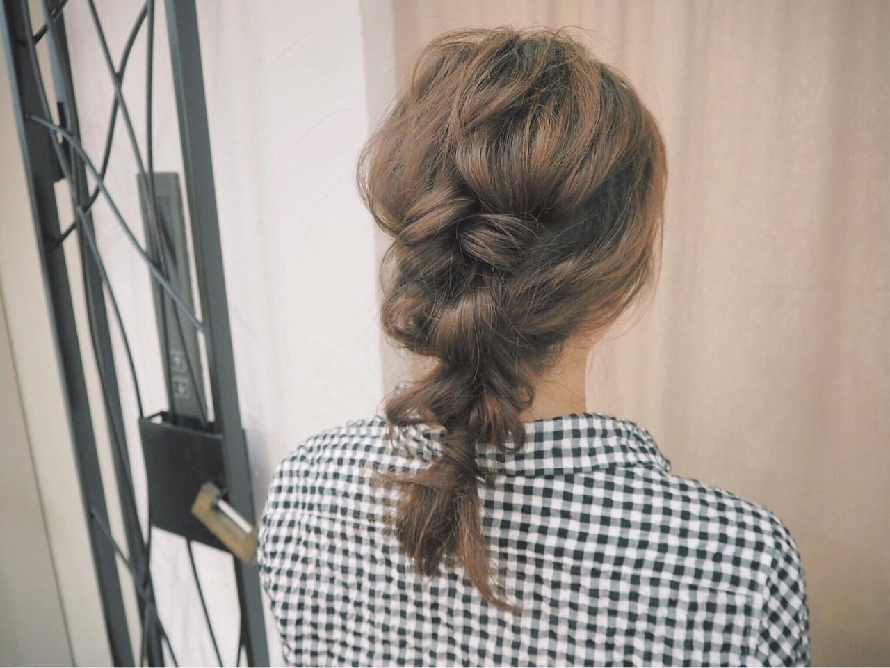編み込み ミディアム ショート 簡単ヘアアレンジ ヘアスタイルや髪型の写真・画像