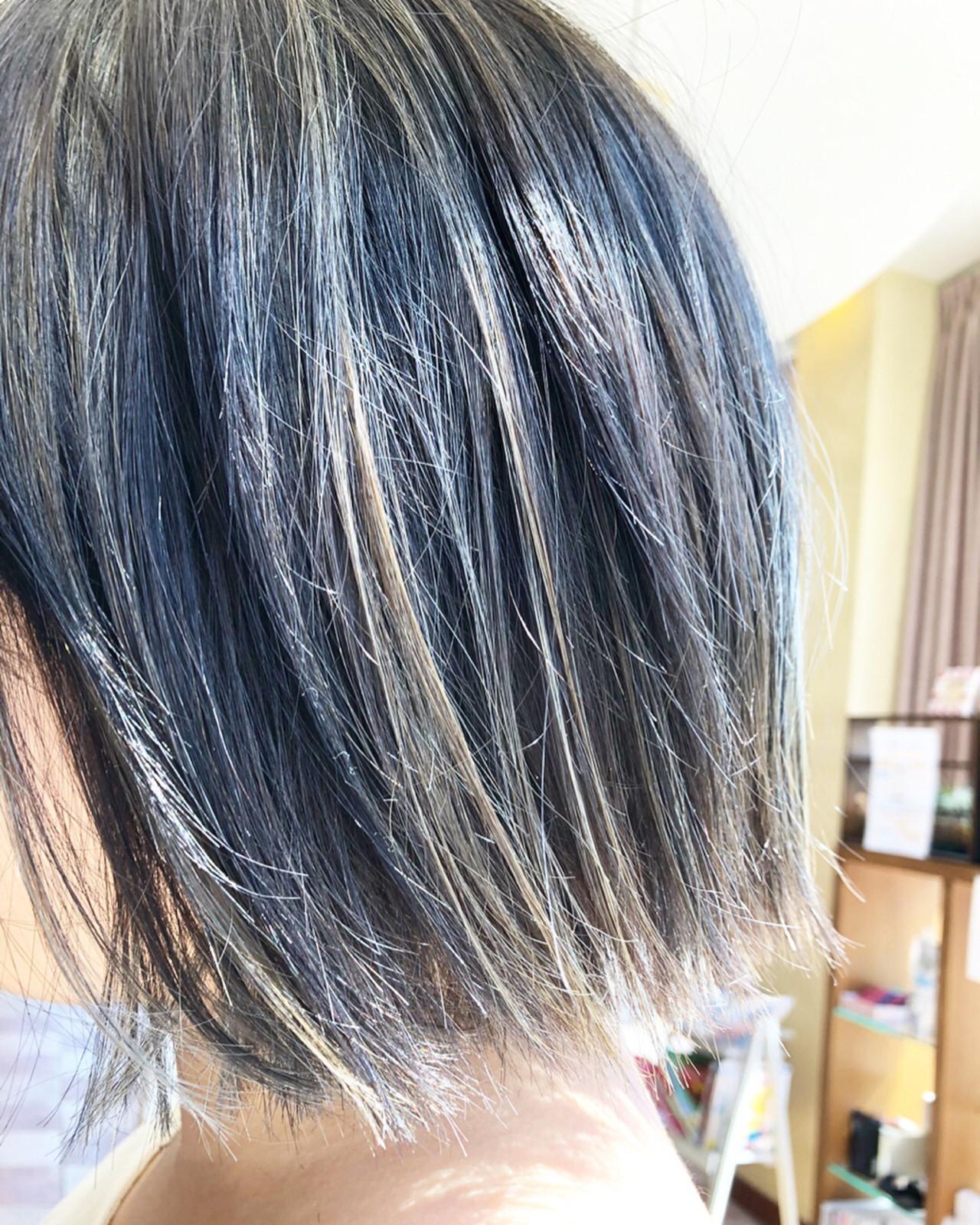 外国人風カラー ボブ シルバー ハイトーン ヘアスタイルや髪型の写真・画像 | 松本 忠晴 / mixjam+Musee