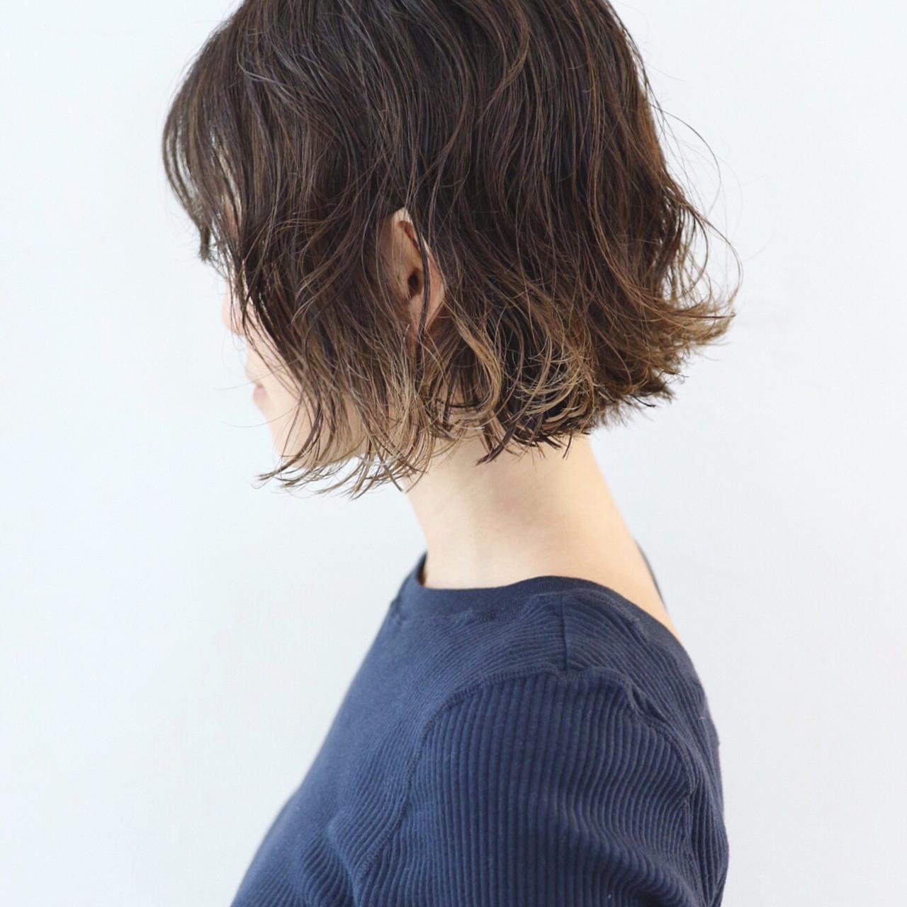パーマ モード バレイヤージュ グラデーションカラー ヘアスタイルや髪型の写真・画像