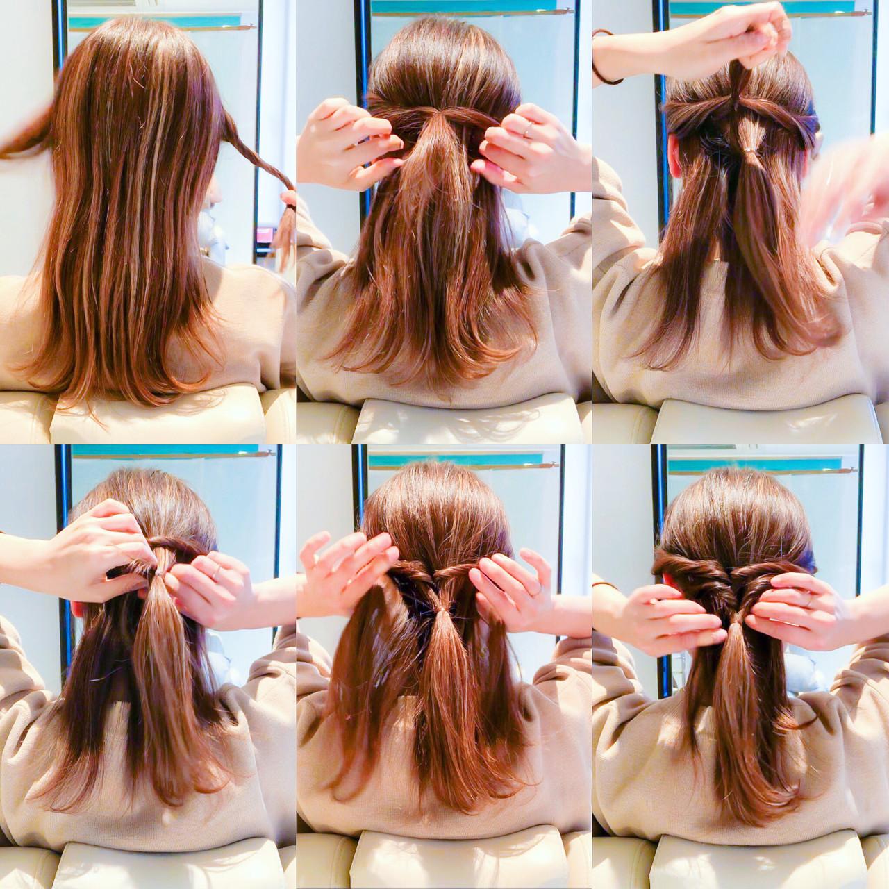 細めが上品❤️大人色っぽい? 簡単に誰でも2分ヘアアレンジ‼️ ☆ ☆やり方☆ 1.両サイドを細めにねじりながら後ろで結びくるりんぱします‼️ 2.すぐ下の中心の毛束をすくい結びます‼️ 3.そのまま2.に1.を通します‼️ 4.両端の毛束をとり結んでくるりんぱします‼️ 5.くるりんぱした毛先を2.に通したら完成です‼️