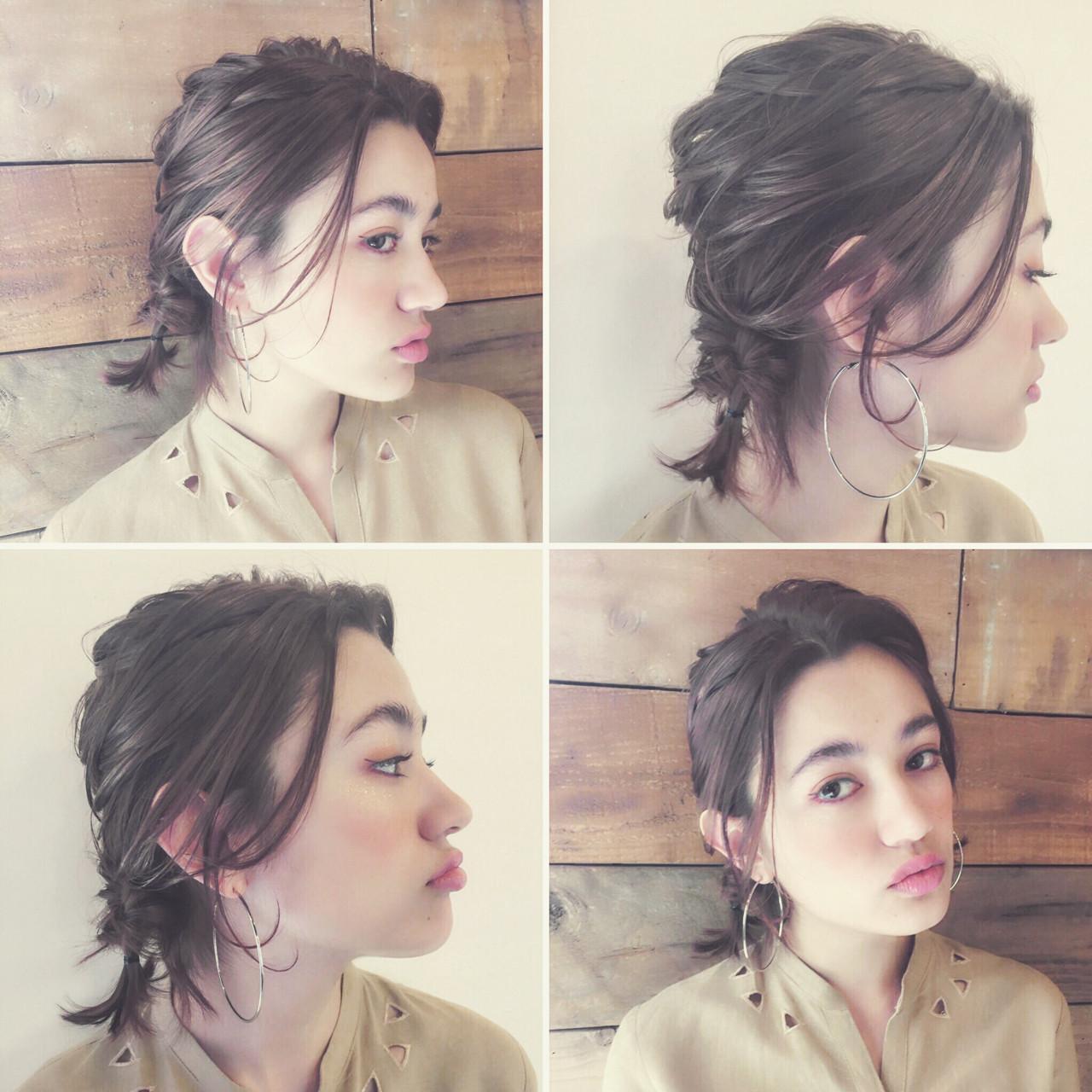 外ハネ 編み込み 外国人風 ショート ヘアスタイルや髪型の写真・画像