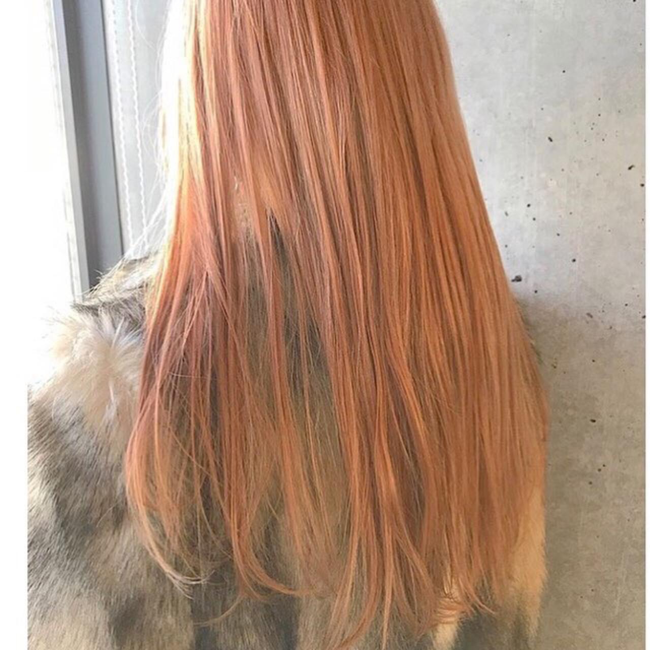 ガーリー 外国人風カラー アプリコットオレンジ ハイトーン ヘアスタイルや髪型の写真・画像 | Rie Akita / LOAVE omotesando