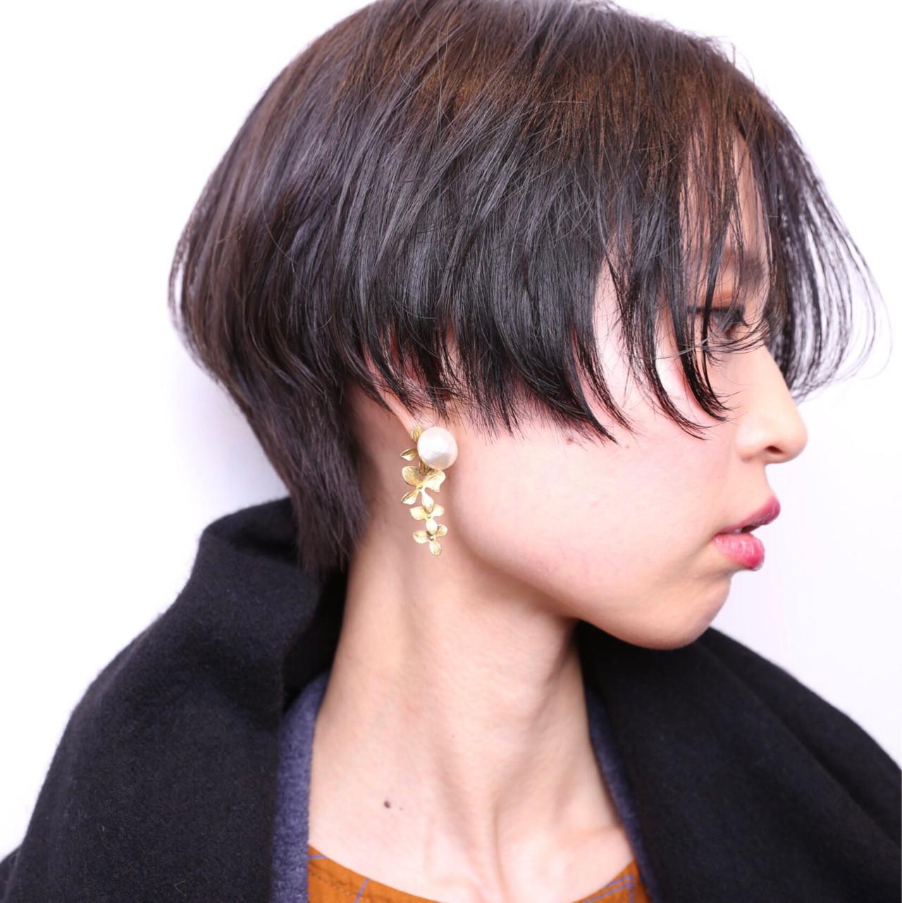 小顔 こなれ感 ショート 前下がり ヘアスタイルや髪型の写真・画像 | 藤山将太 / ROSTAR