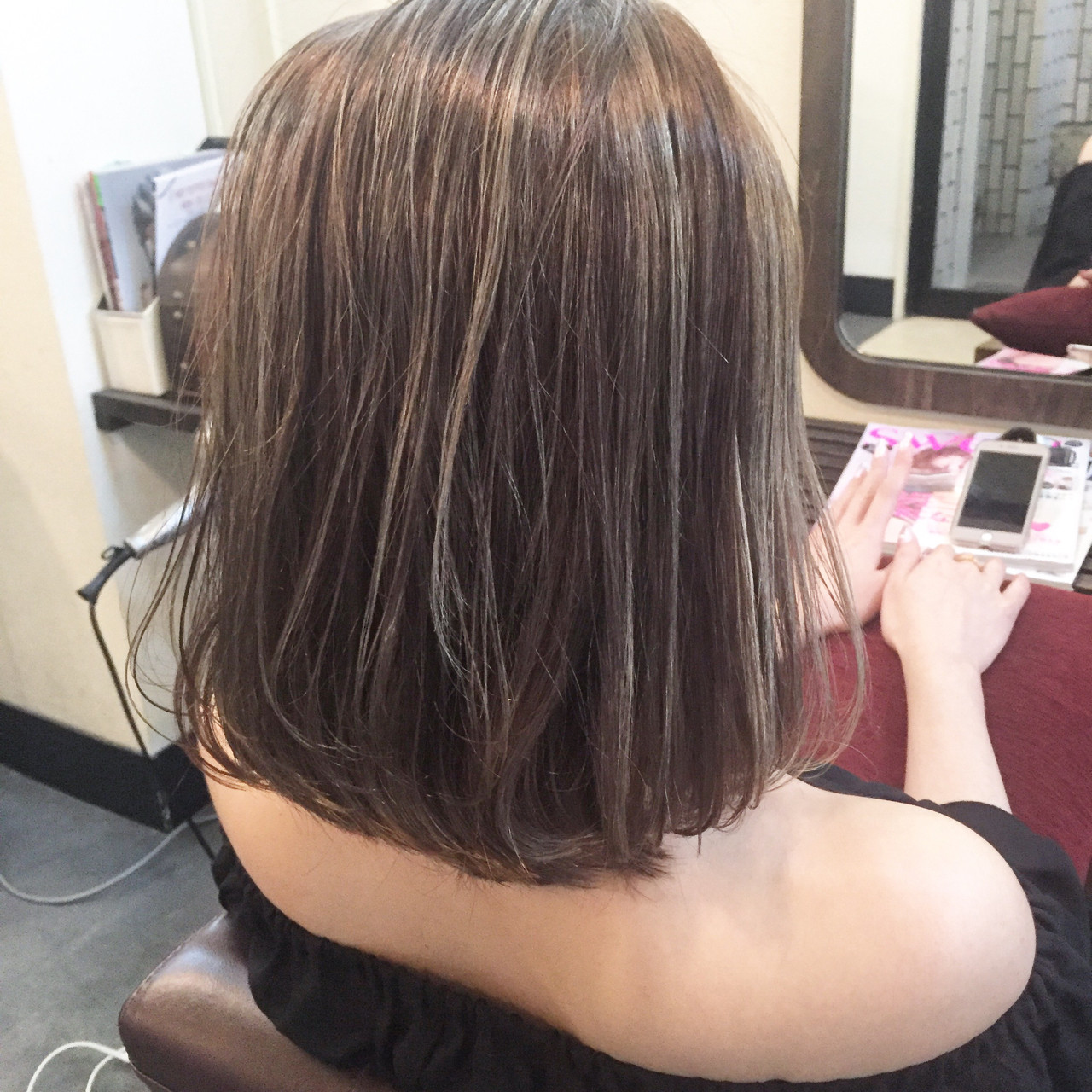 ハイライト 黒髪 外国人風カラー ナチュラル ヘアスタイルや髪型の写真・画像