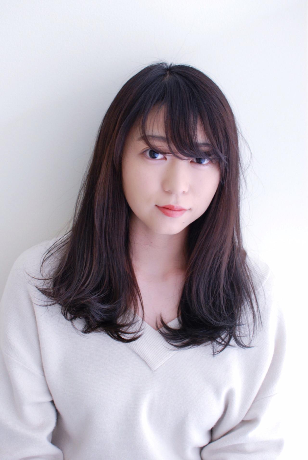 流し前髪 アッシュ ロング ナチュラル ヘアスタイルや髪型の写真・画像 | 林 真之介 / mateca hair