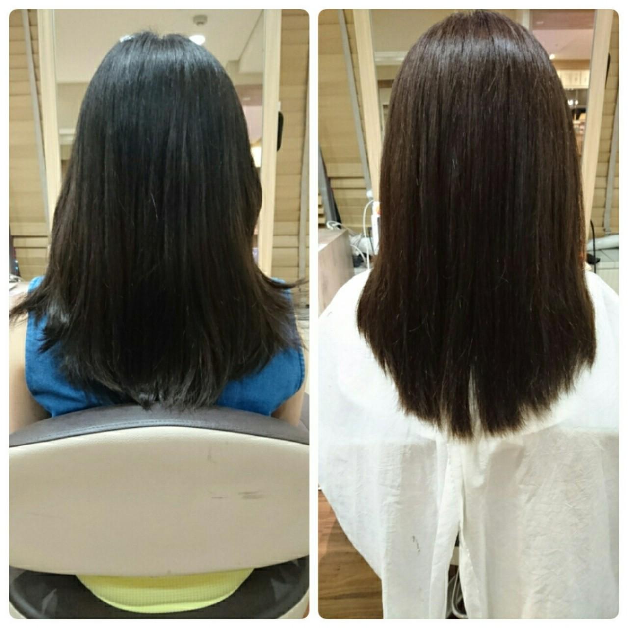 縮毛矯正 セミロング ナチュラル 大人かわいい ヘアスタイルや髪型の写真・画像