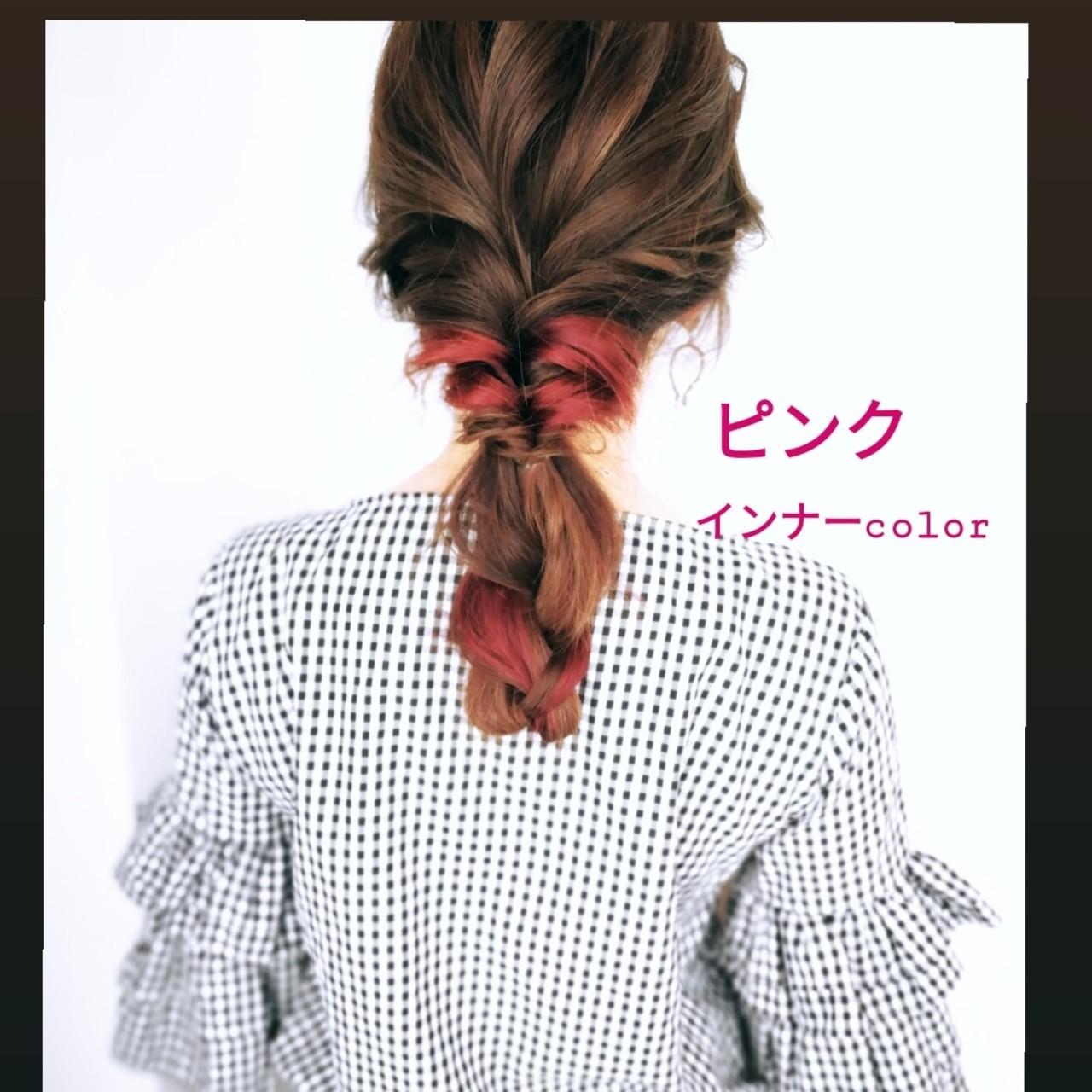ガーリー スモーキーカラー ピンク 簡単ヘアアレンジ ヘアスタイルや髪型の写真・画像