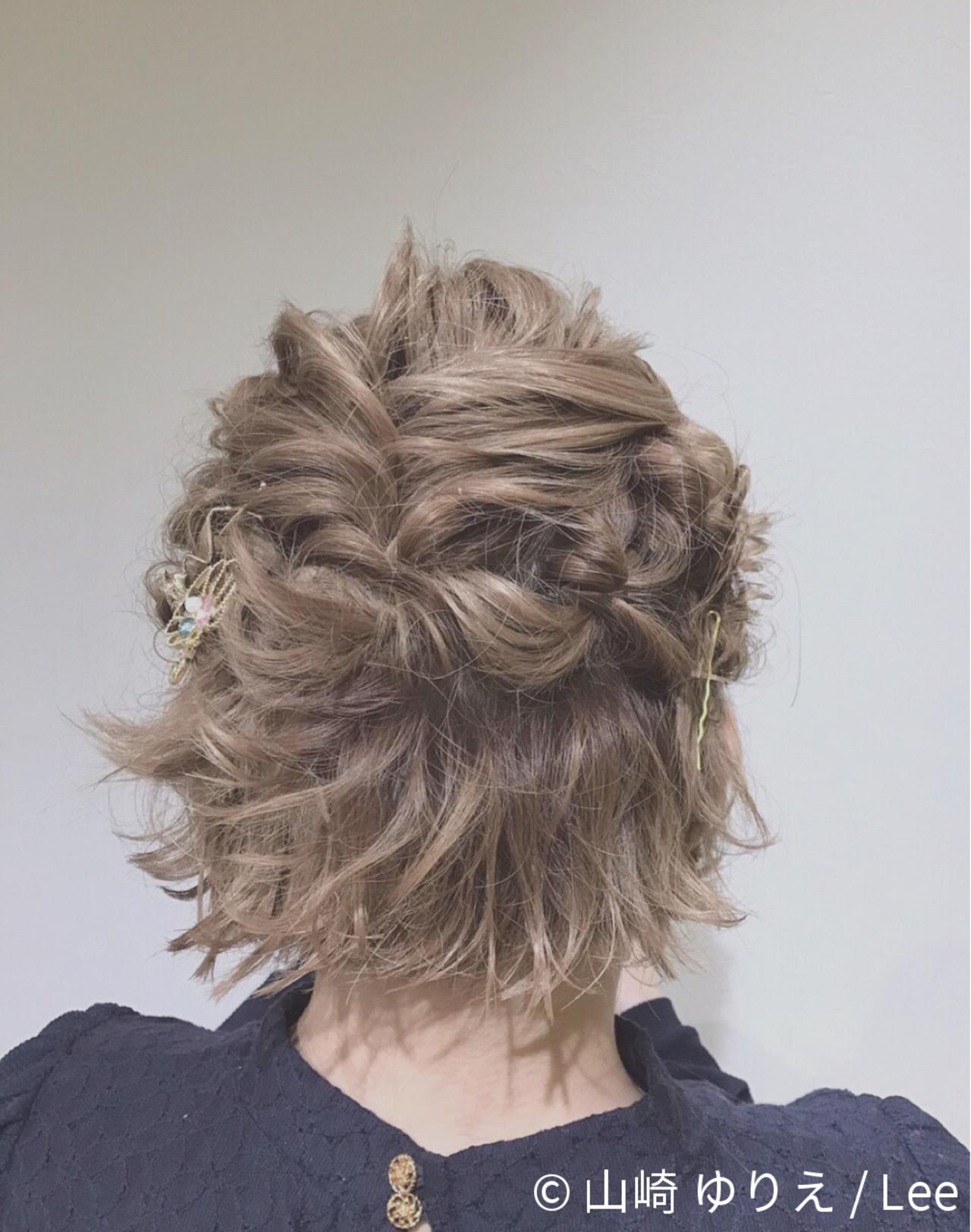 ミルクティー ヘアアレンジ ニュアンス 編み込み ヘアスタイルや髪型の写真・画像