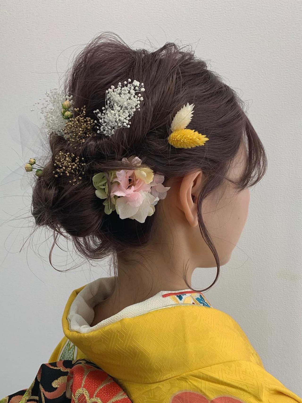 結婚式ヘアアレンジ 成人式 ミディアム 成人式カラー ヘアスタイルや髪型の写真・画像