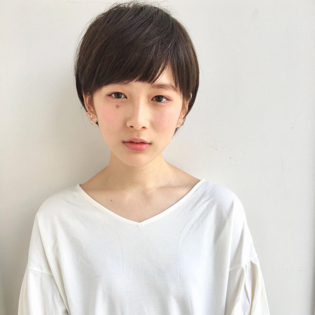 ショート アッシュグレージュ 田中美保 ショートバング ヘアスタイルや髪型の写真・画像
