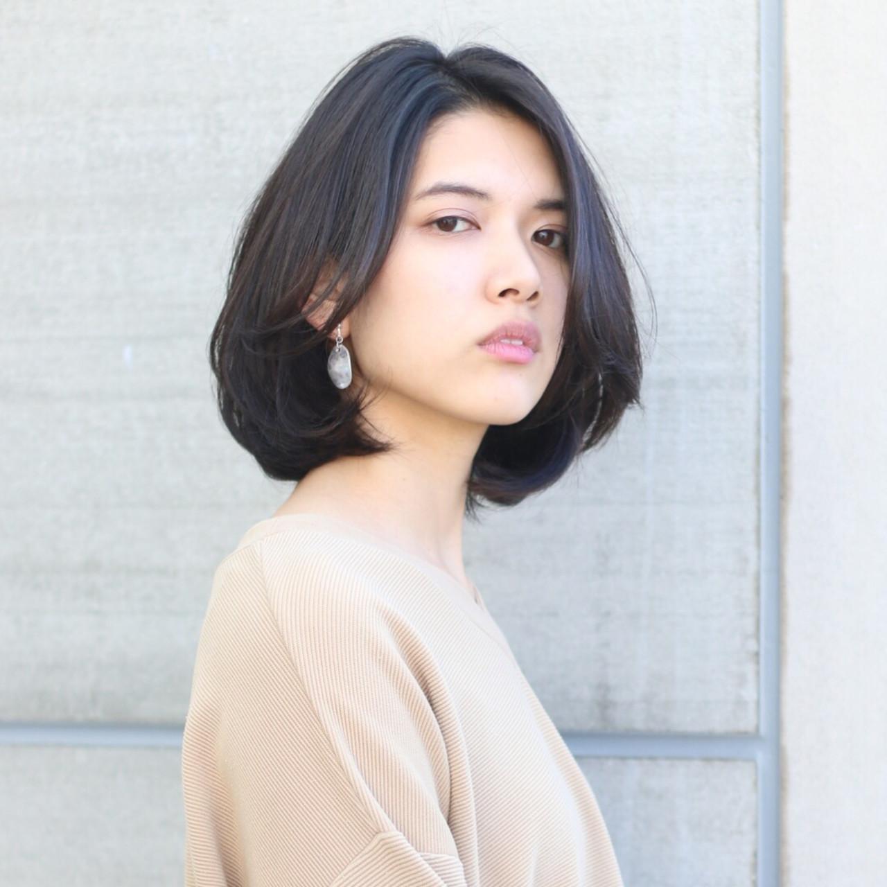 レイヤー ボブ フェミニン デート ヘアスタイルや髪型の写真・画像 | 趙 英来 (よん) / nex