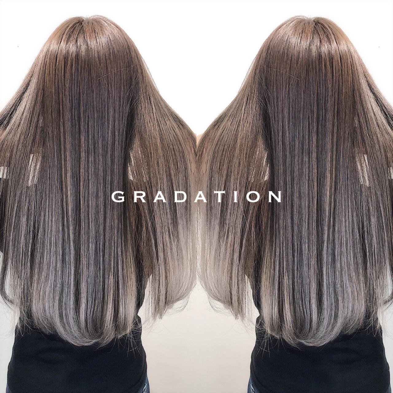 バレイヤージュ グラデーションカラー ロング 外国人風 ヘアスタイルや髪型の写真・画像 | 米山拓弥 / CLOCKLESS