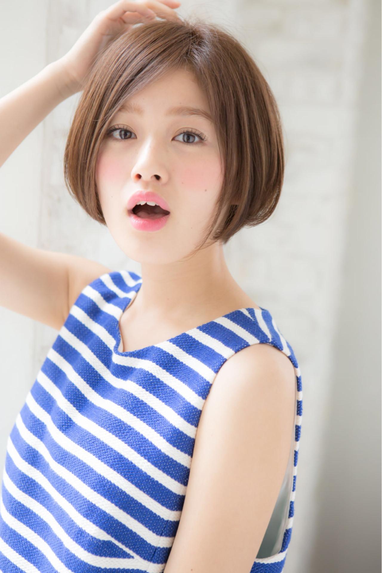 ナチュラル 小顔 ボブ 似合わせ ヘアスタイルや髪型の写真・画像 | 赤井希望 / joemibyUnami
