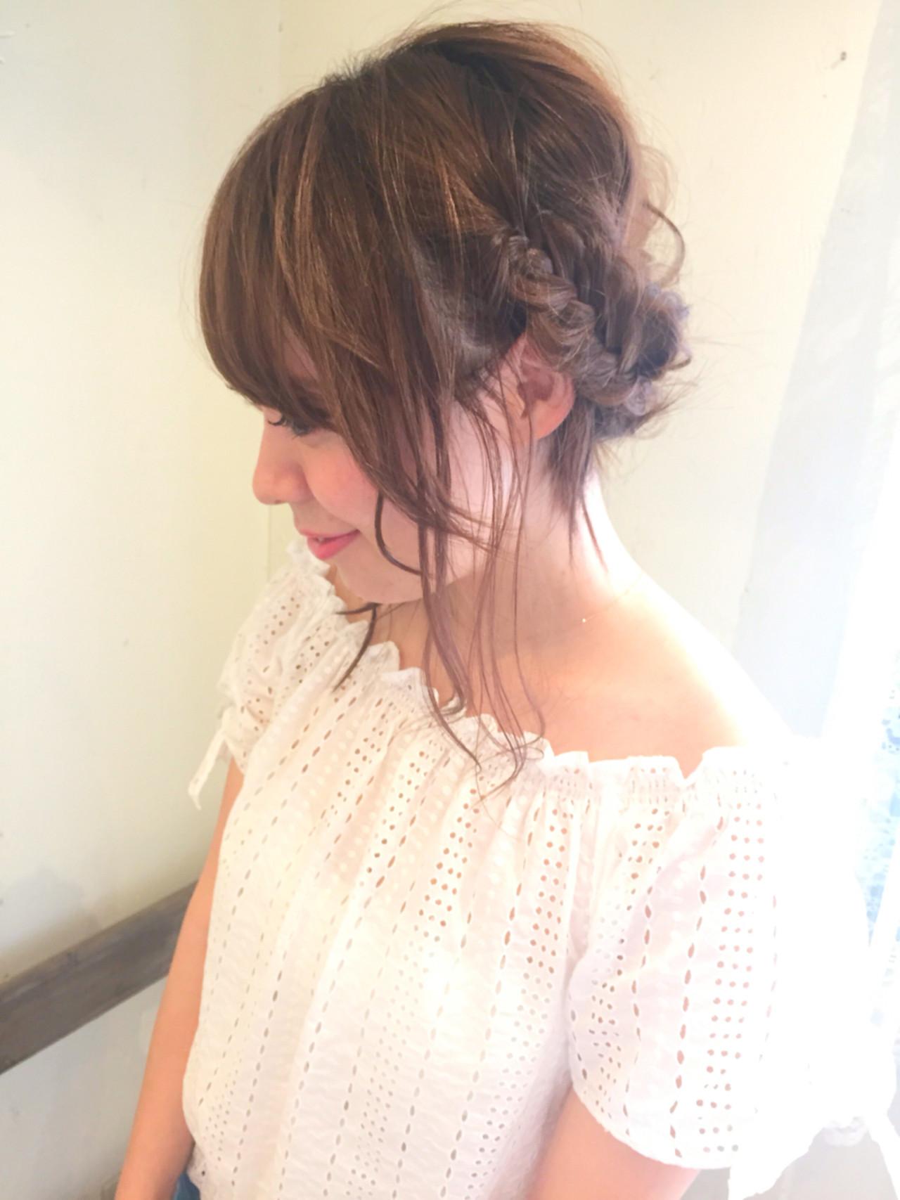 ヘアアレンジ ミディアム ヘアピン フェミニン ヘアスタイルや髪型の写真・画像 | 黒田 卓磨/musashi / souvenir(スーベニール)