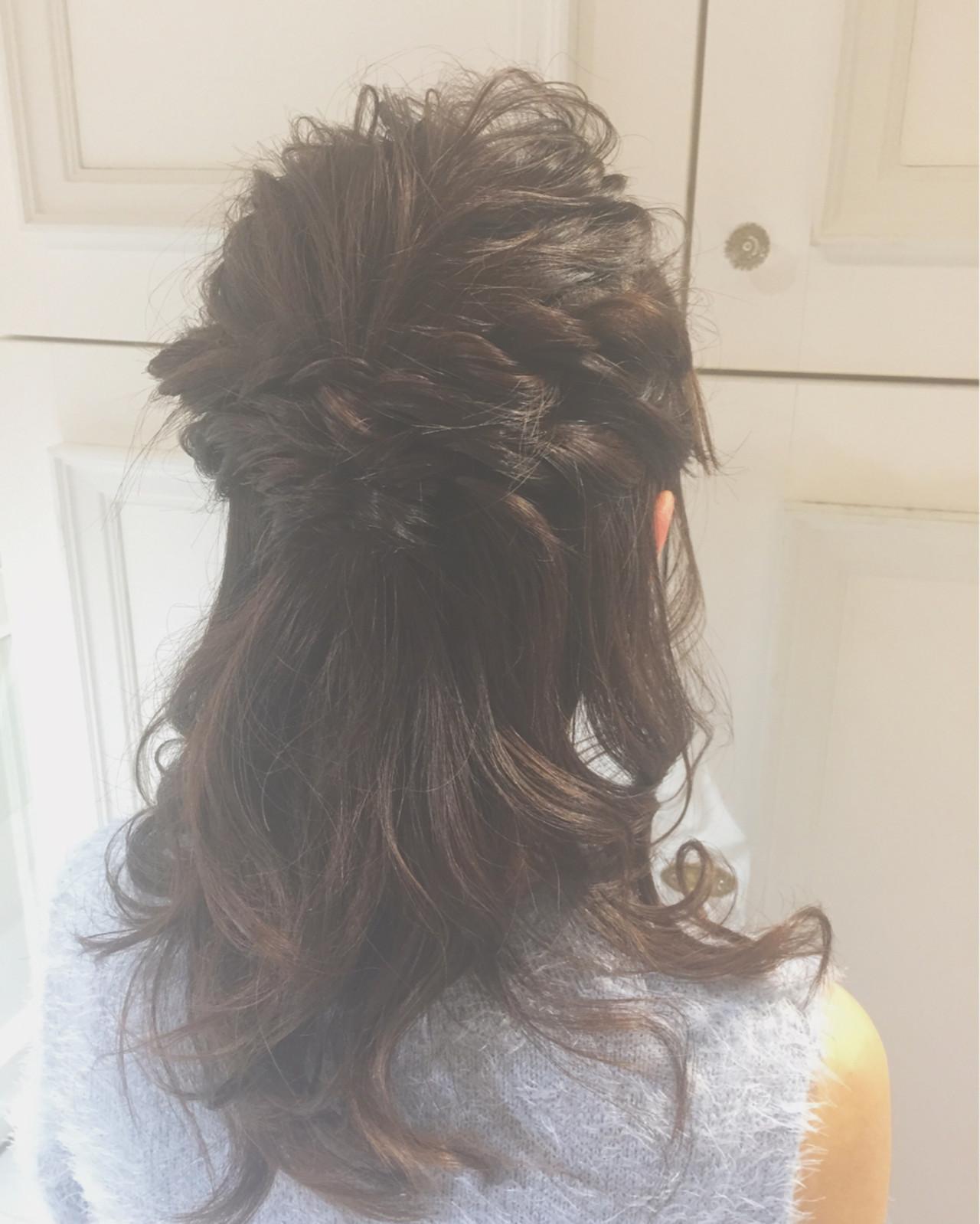 ガーリー ミルクティー セミロング ハーフアップ ヘアスタイルや髪型の写真・画像