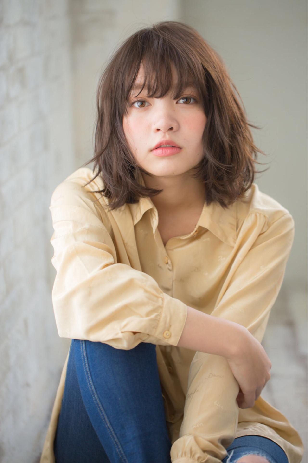 ミディアム デジタルパーマ 黒髪 パーマ ヘアスタイルや髪型の写真・画像