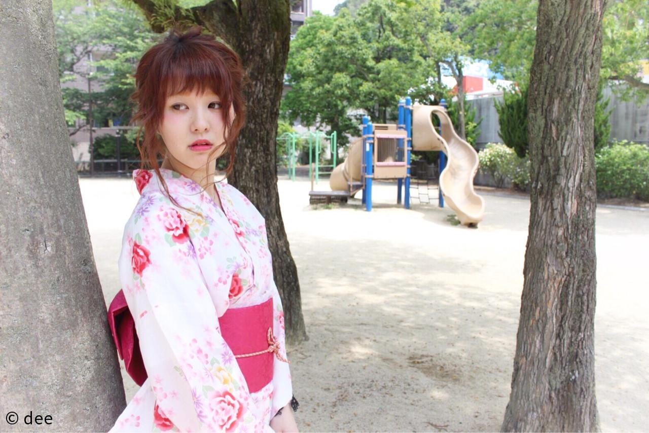 編み込み お祭り ヘアアレンジ セミロング ヘアスタイルや髪型の写真・画像 | dee / dee