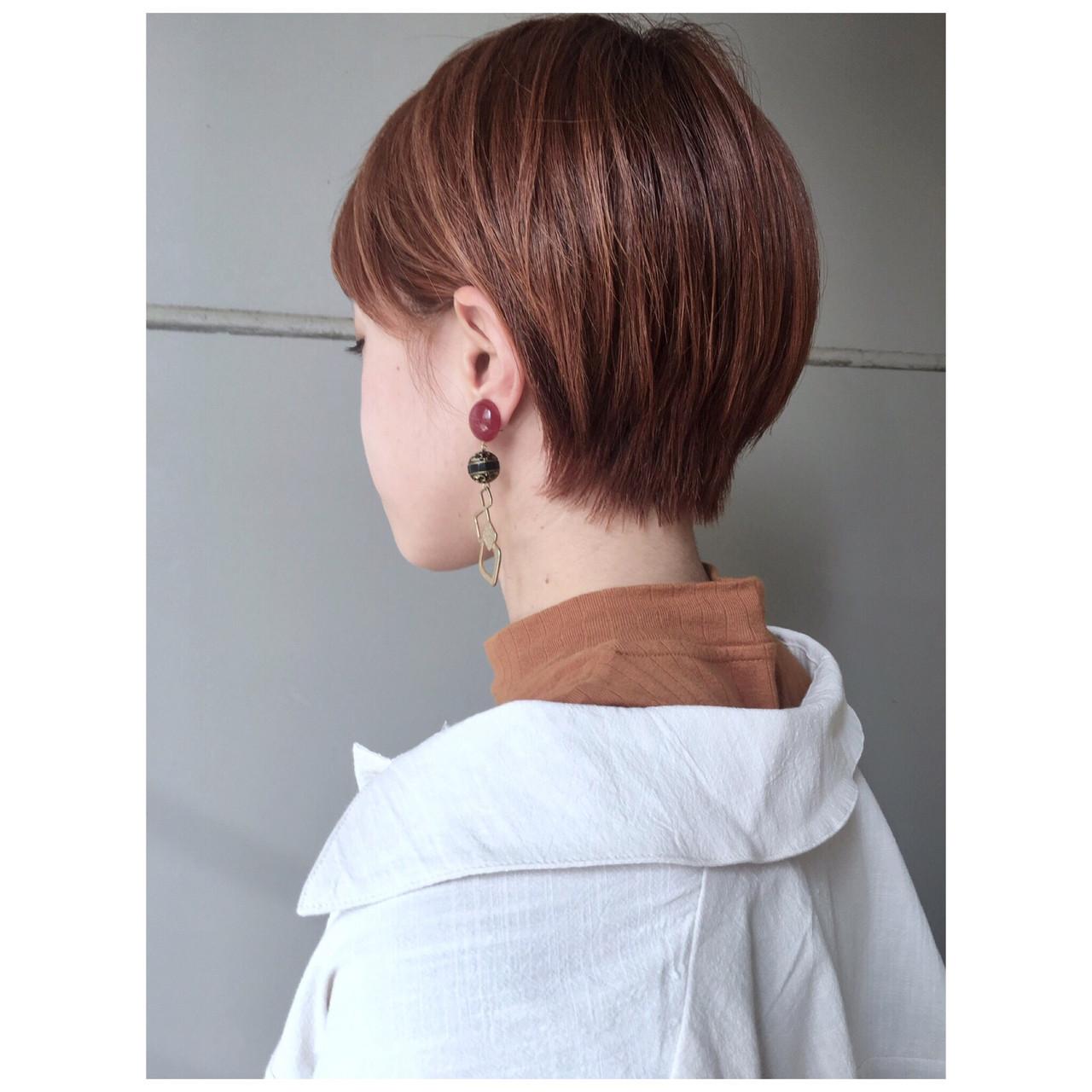 ミニボブ ナチュラル ショートヘア オレンジ ヘアスタイルや髪型の写真・画像