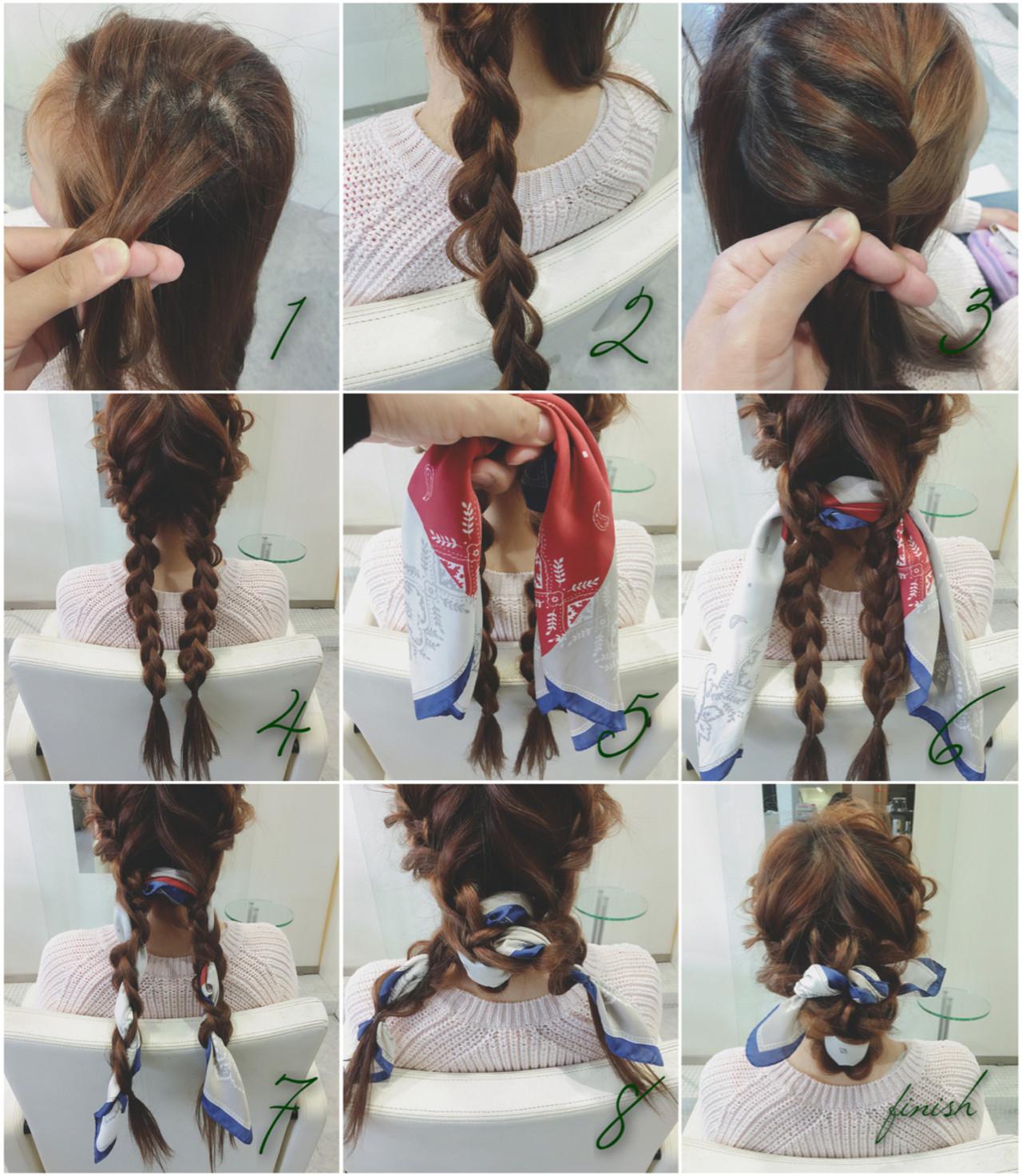 バンダナ ヘアアレンジ ヘアアクセ ショート ヘアスタイルや髪型の写真・画像