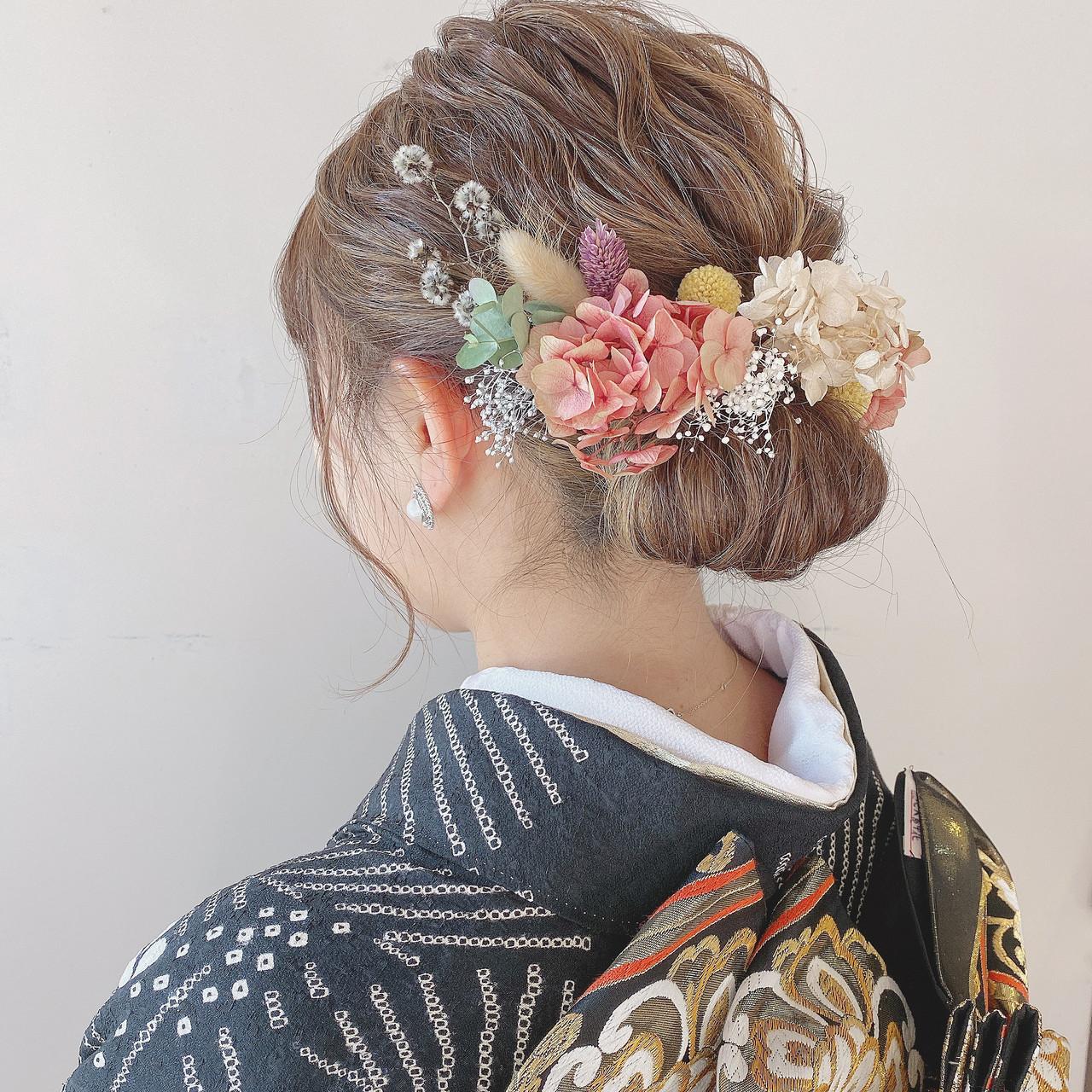 成人式 結婚式 ヘアセット ナチュラル ヘアスタイルや髪型の写真・画像