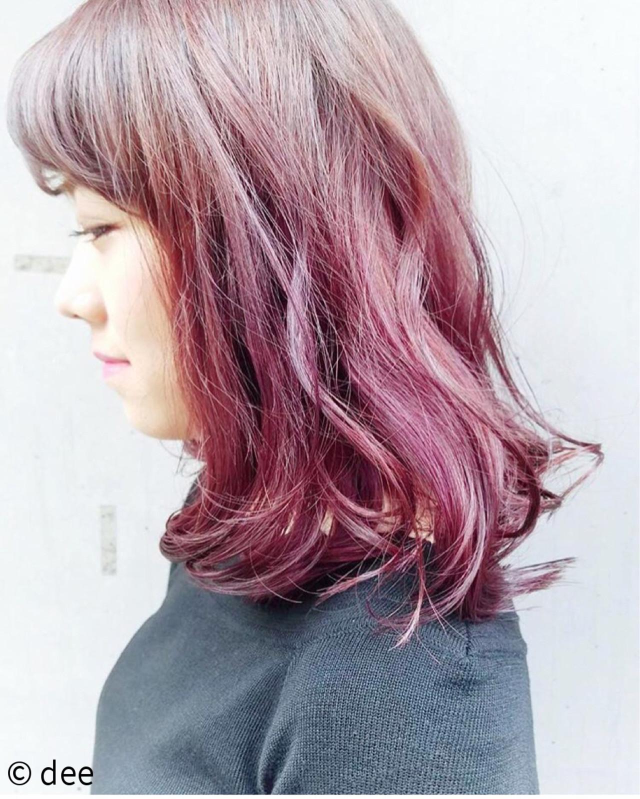 ピンク ブリーチ パープル ミディアム ヘアスタイルや髪型の写真・画像