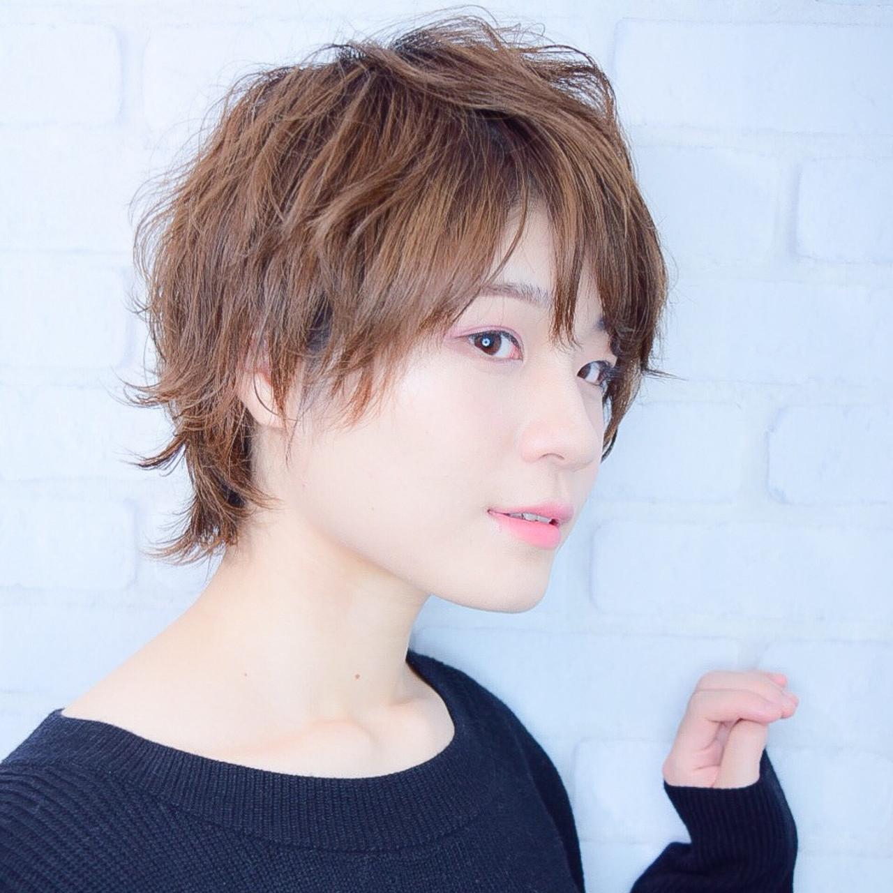 ウルフ女子 ナチュラル 小顔ヘア 前下がりショート ヘアスタイルや髪型の写真・画像   【素材コンシェルジュ型/ショートの極】川島佑一 / Lounge×morio ikebukuro