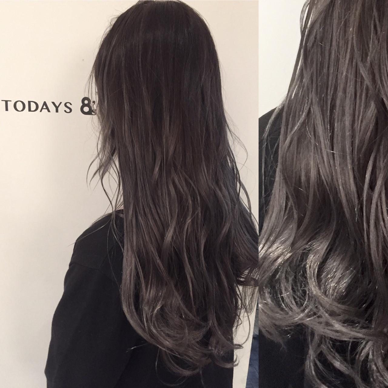 ストリート セミロング 外国人風 シルバーアッシュ ヘアスタイルや髪型の写真・画像